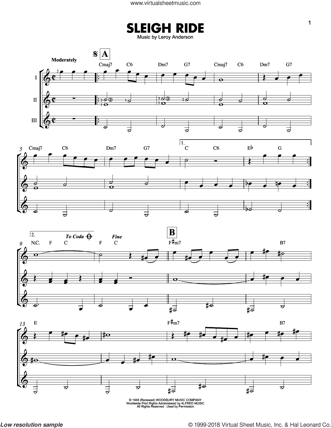 Sleigh Ride sheet music for guitar ensemble by Mitchell Parish and Leroy Anderson, intermediate. Score Image Preview.