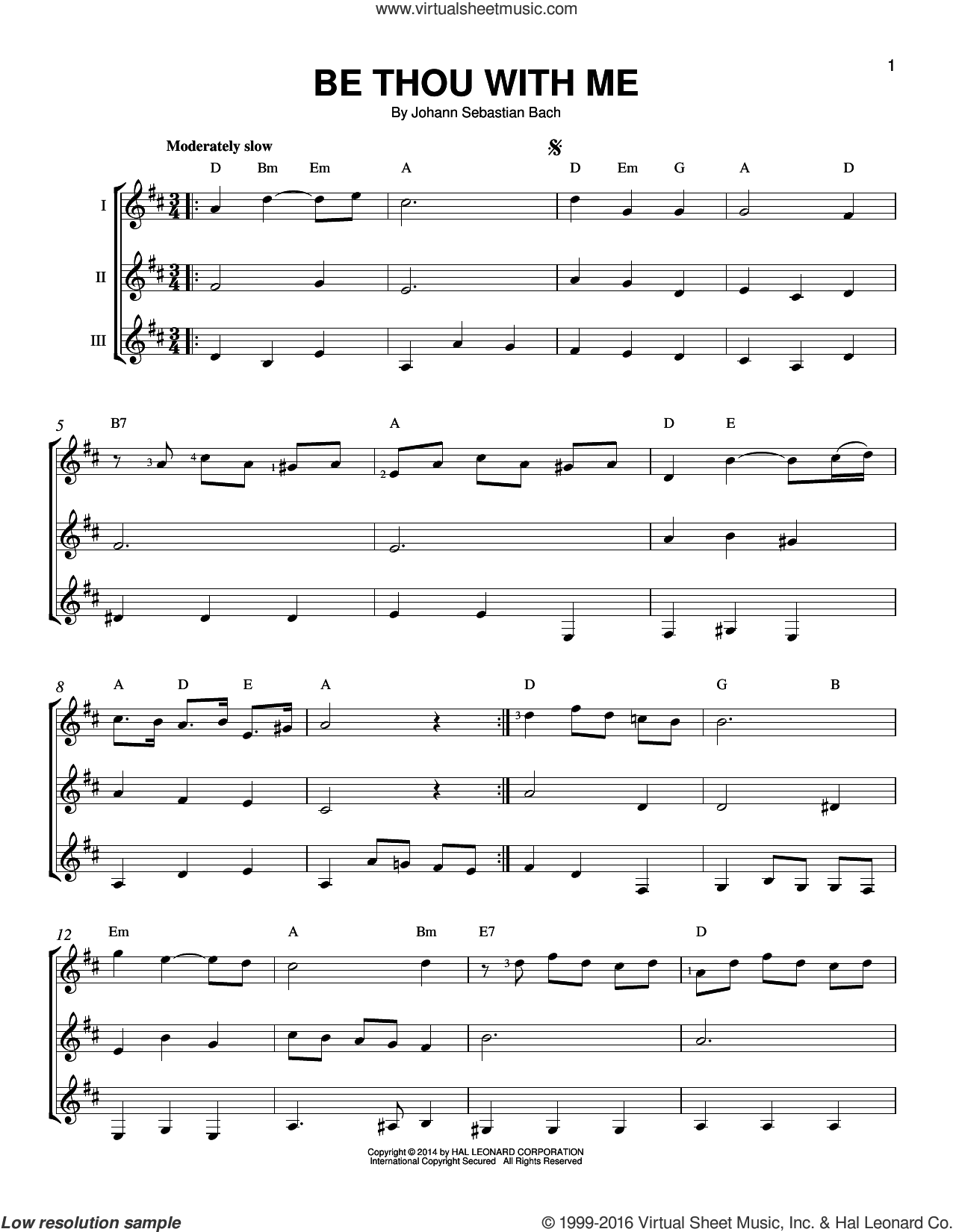 Be Thou With Me sheet music for guitar ensemble by Johann Sebastian Bach, classical score, intermediate skill level
