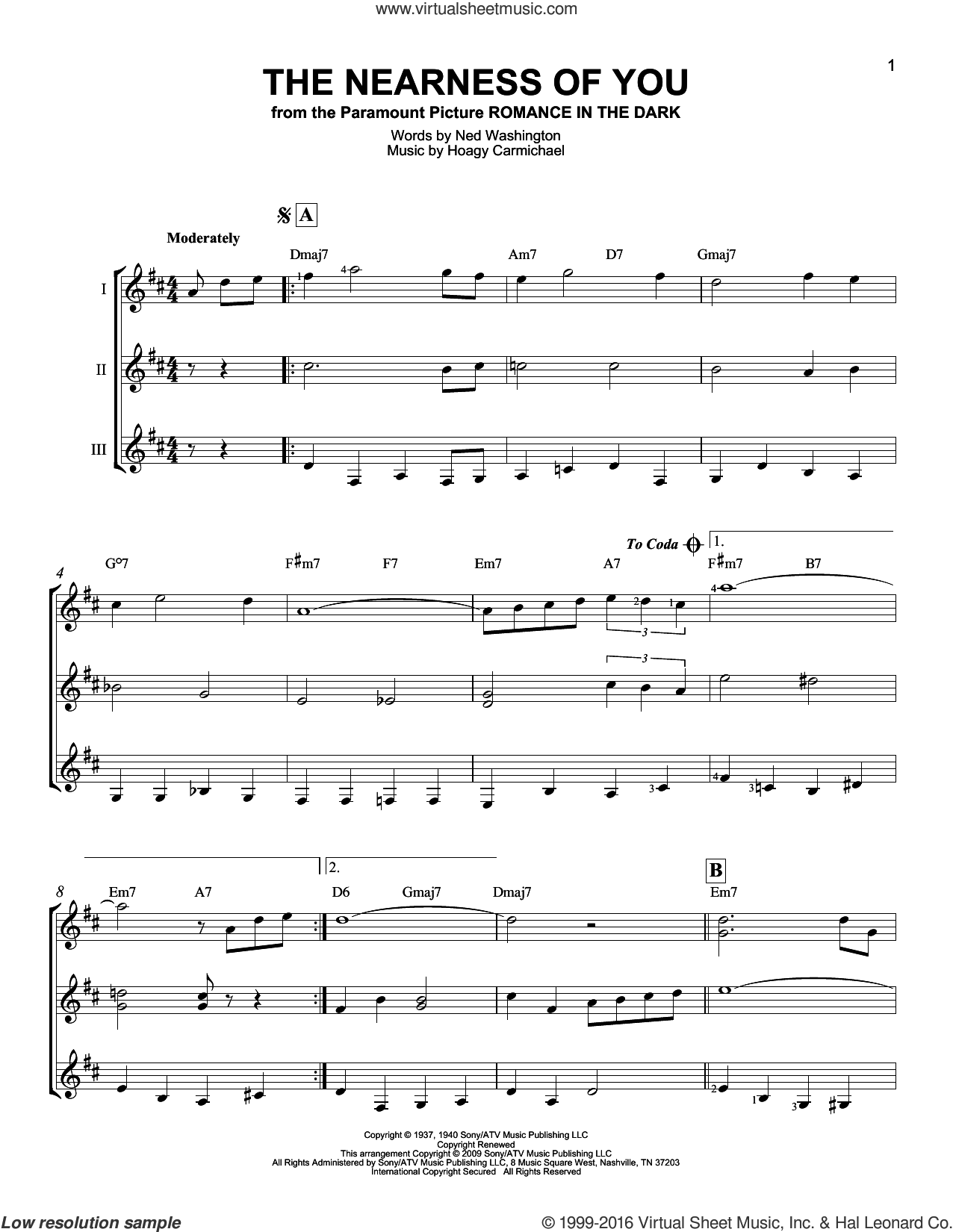The Nearness Of You sheet music for guitar ensemble by Ned Washington, George Shearing and Hoagy Carmichael. Score Image Preview.
