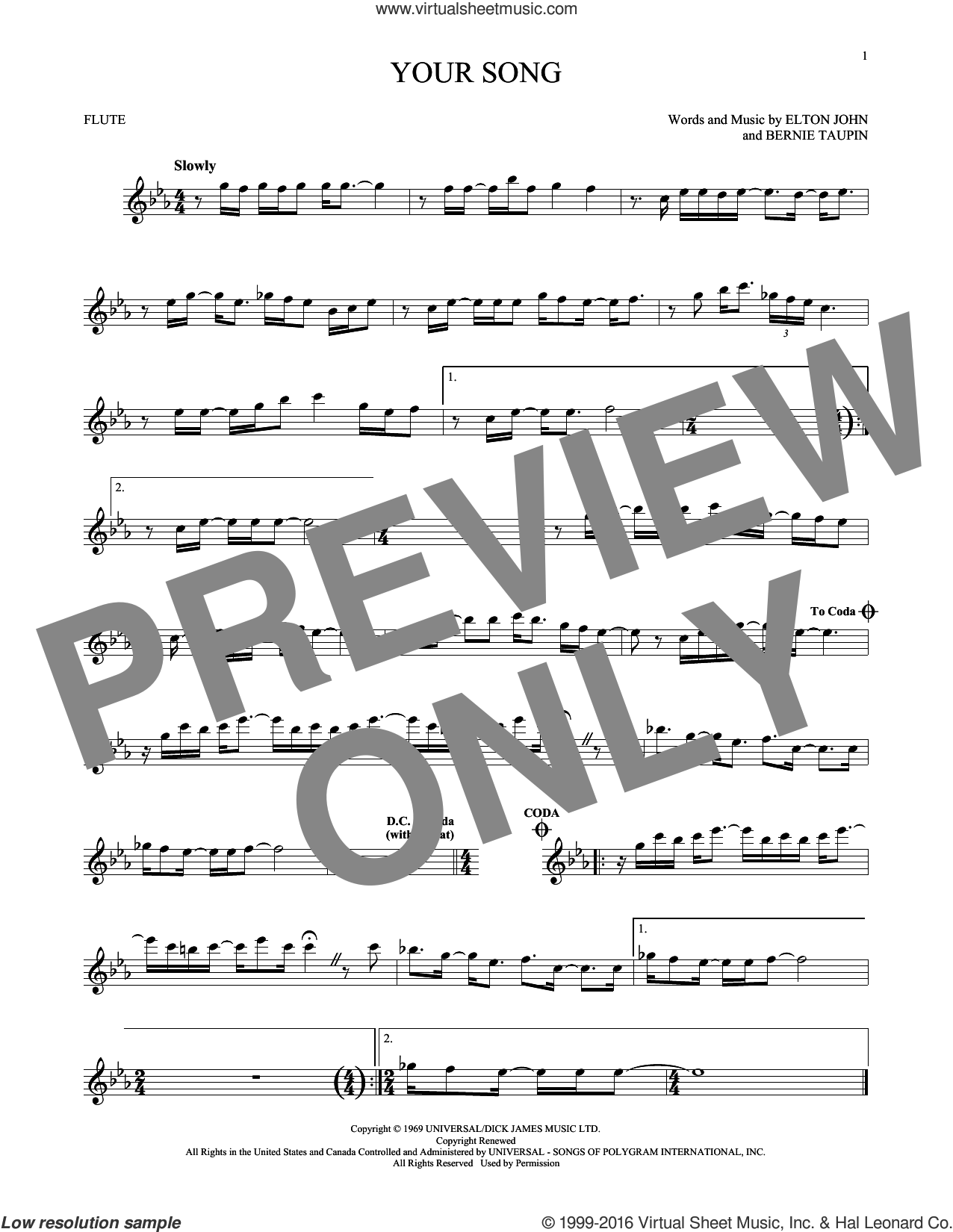 Your Song sheet music for flute solo by Bernie Taupin and Elton John. Score Image Preview.