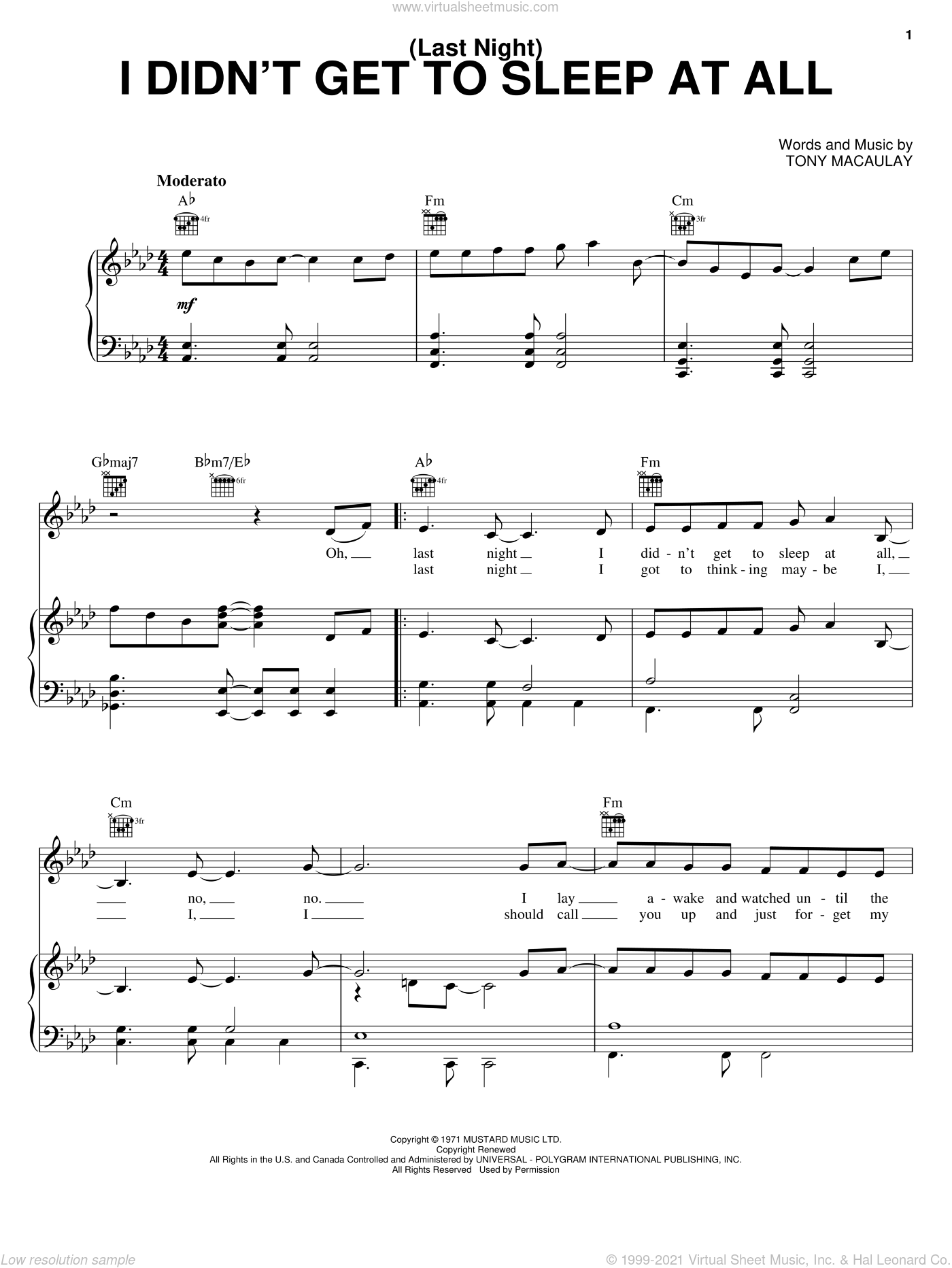 (Last Night) I Didn't Get To Sleep At All sheet music for voice, piano or guitar by Tony Macaulay and The Fifth Dimension. Score Image Preview.