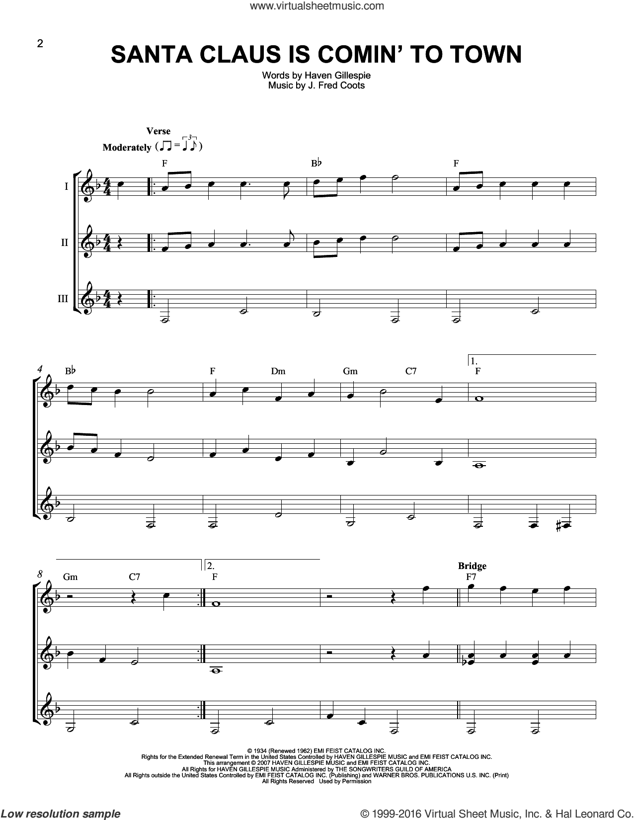 Santa Claus Is Comin' To Town sheet music for guitar ensemble by J. Fred Coots, J Arnold, Steve Tyrell and Haven Gillespie. Score Image Preview.
