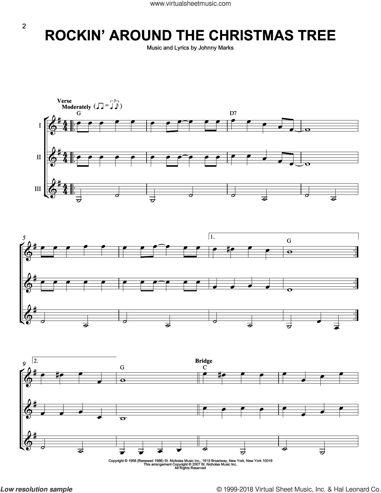 Rockin' Around The Christmas Tree sheet music for guitar ensemble by Johnny Marks, J Arnold, LeAnn Rimes and Toby Keith, intermediate skill level