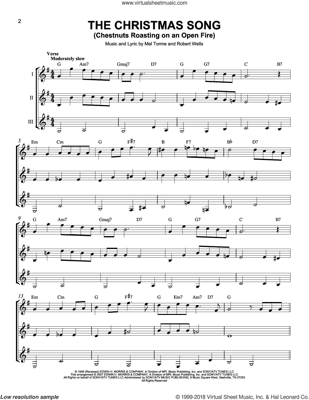 The Christmas Song (Chestnuts Roasting On An Open Fire) sheet music for guitar ensemble by J Arnold and Mel Torme, intermediate skill level