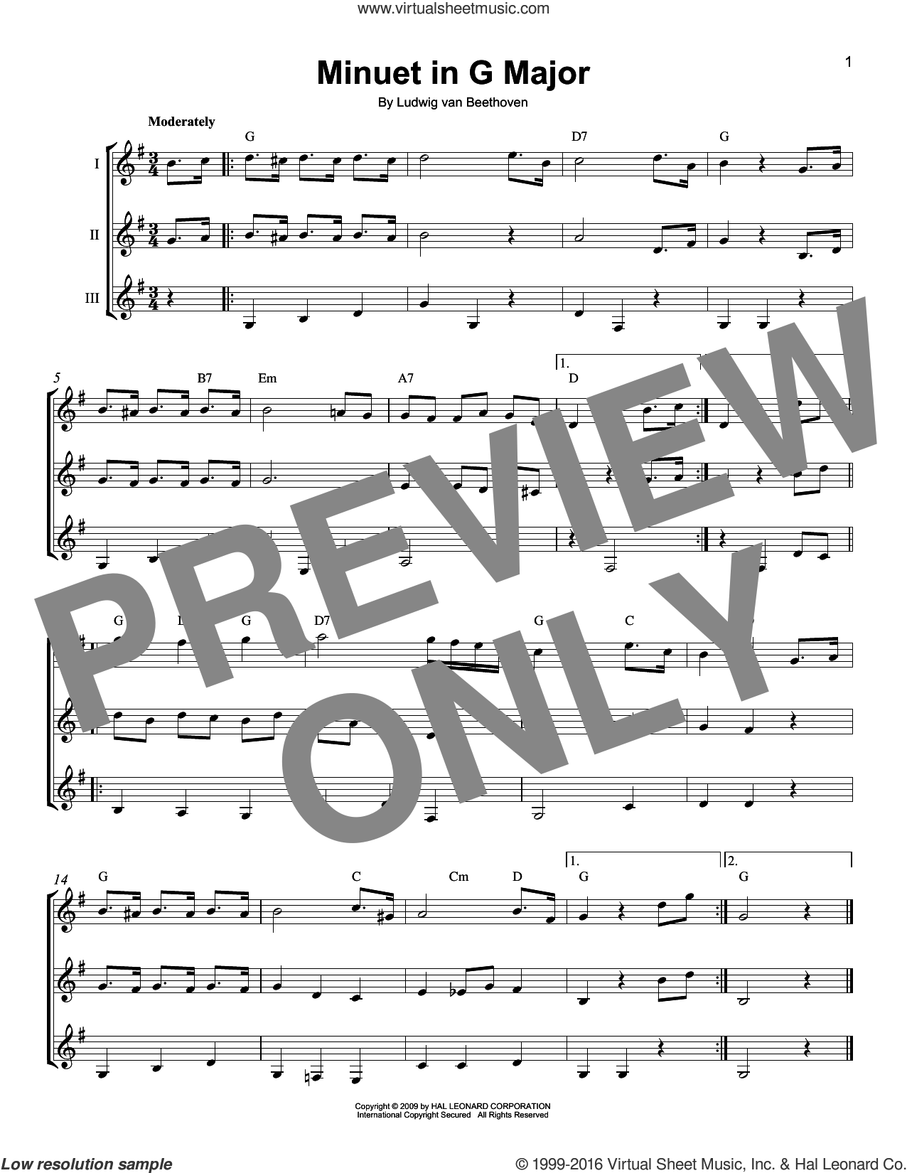 Minuet In G Major sheet music for guitar ensemble by Ludwig van Beethoven, classical score, intermediate. Score Image Preview.