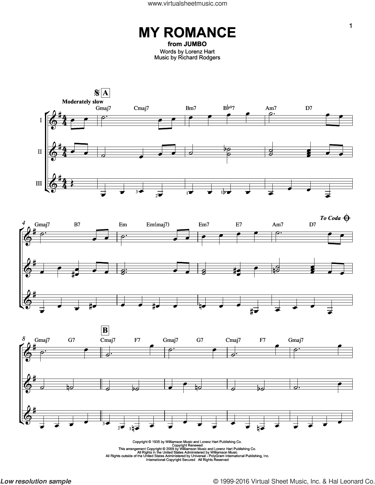 My Romance sheet music for guitar ensemble by Rodgers & Hart, Lorenz Hart and Richard Rodgers, intermediate skill level
