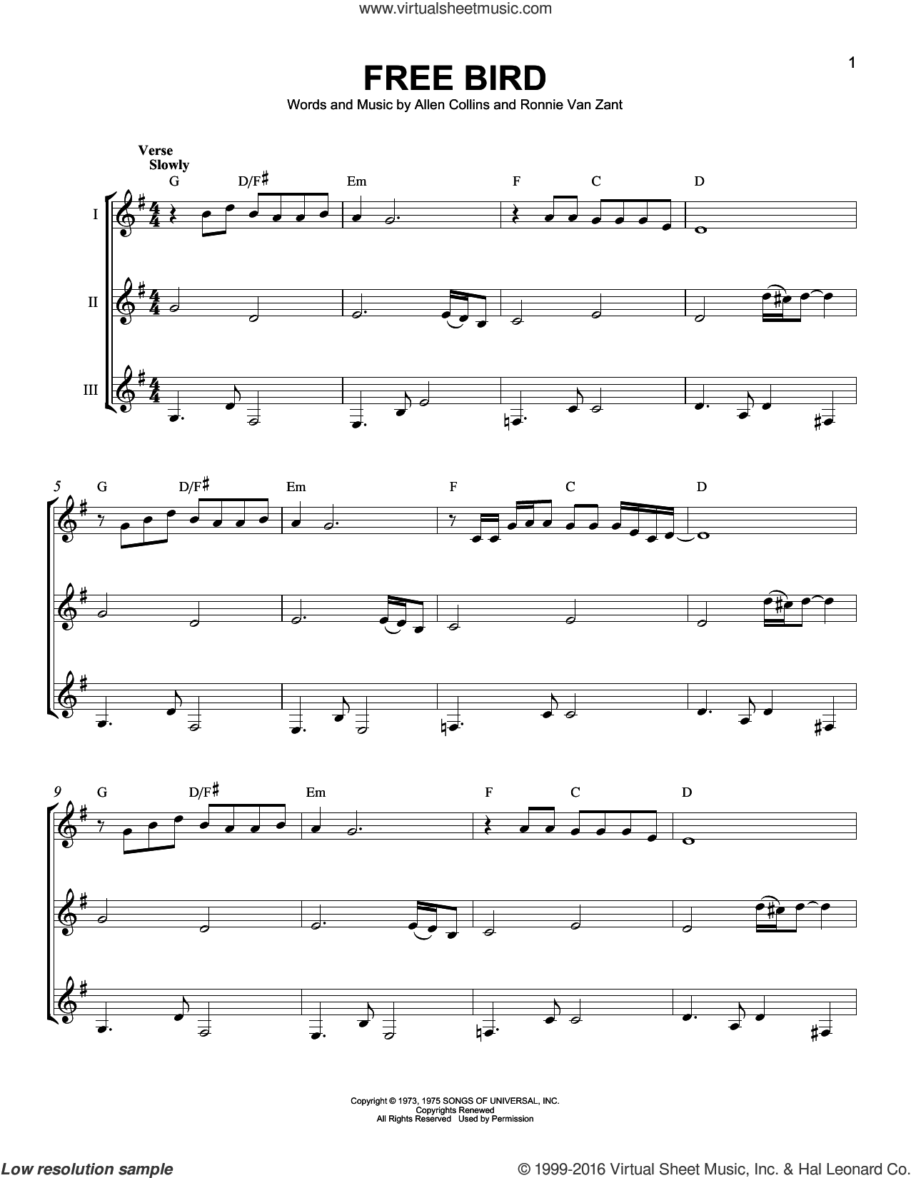 Free Bird sheet music for guitar ensemble by Lynyrd Skynyrd and Ronnie Van Zant. Score Image Preview.