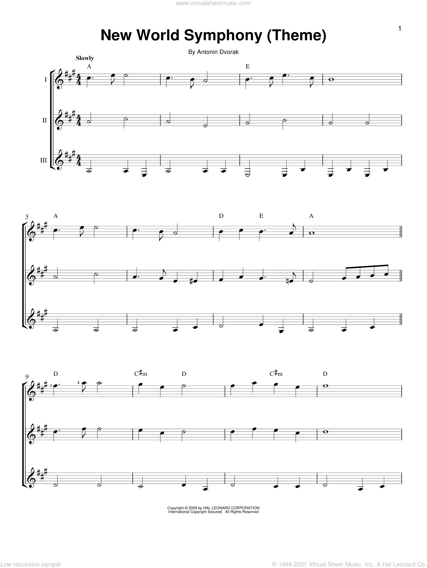 New World Symphony (Theme) sheet music for guitar ensemble by Antonin Dvorak, classical score, intermediate