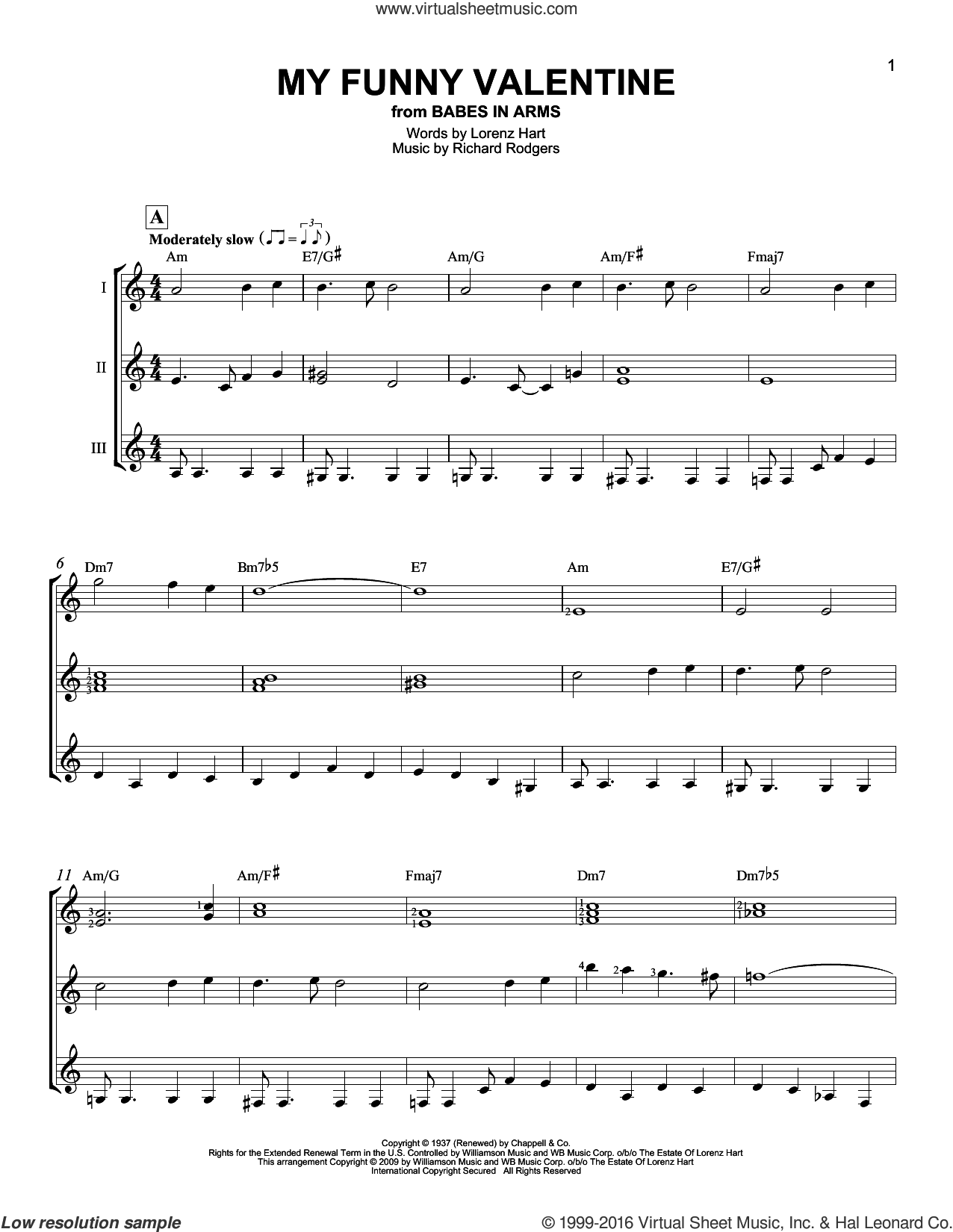 My Funny Valentine sheet music for guitar ensemble by Rodgers & Hart, Lorenz Hart and Richard Rodgers. Score Image Preview.