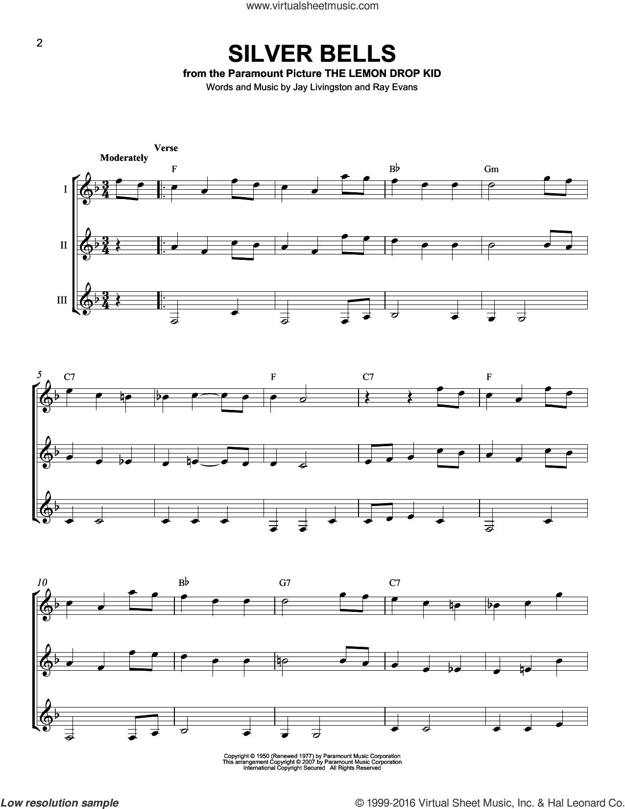 Silver Bells sheet music for guitar ensemble by Ray Evans and J Arnold, intermediate skill level