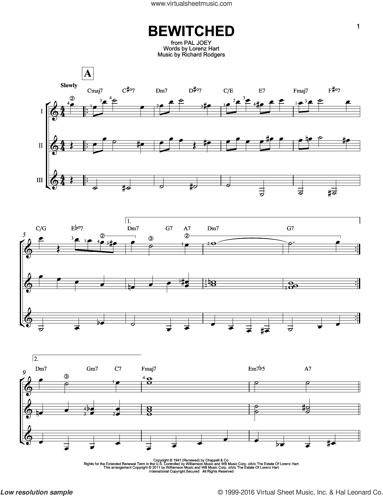 Bewitched sheet music for guitar ensemble by Rodgers & Hart, Lorenz Hart and Richard Rodgers, intermediate skill level