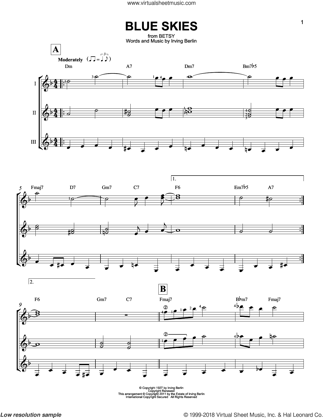 Blue Skies sheet music for guitar ensemble by Irving Berlin and Willie Nelson, wedding score, intermediate skill level