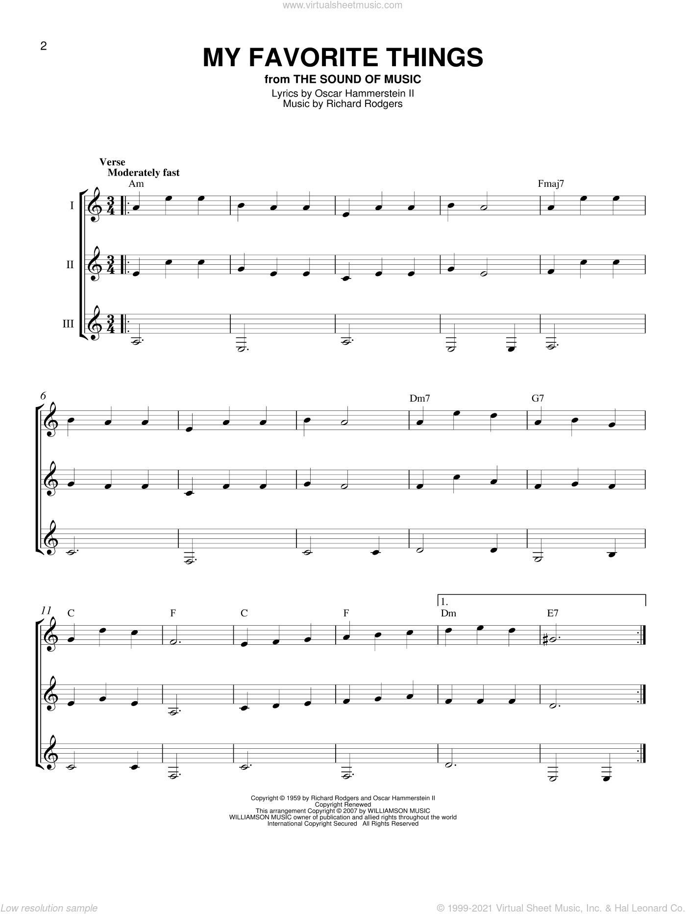 My Favorite Things sheet music for guitar ensemble by Rodgers & Hammerstein, Chicago, Lorrie Morgan and Richard Rodgers, intermediate skill level