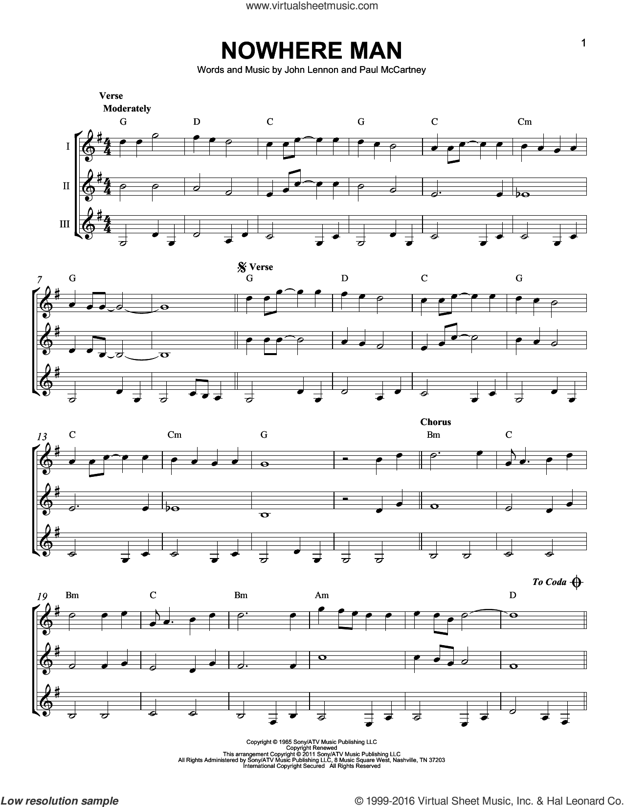 Nowhere Man sheet music for guitar ensemble by Paul McCartney, The Beatles and John Lennon. Score Image Preview.