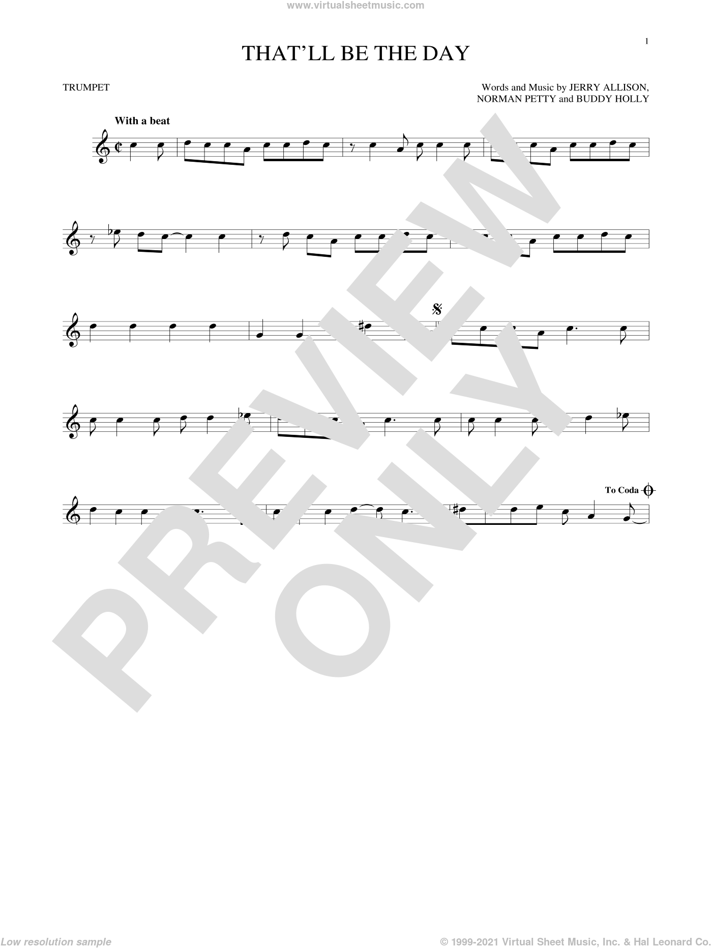 That'll Be The Day sheet music for trumpet solo by Norman Petty, Buddy Holly and Jerry Allison. Score Image Preview.