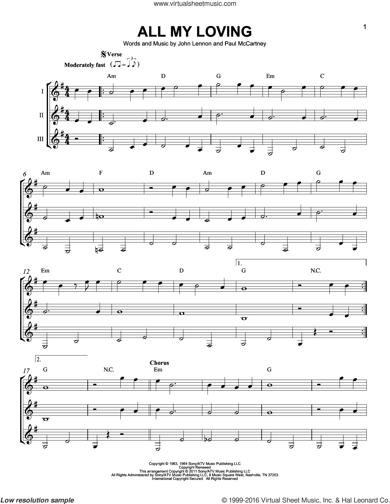 All My Loving sheet music for guitar ensemble by The Beatles, John Lennon and Paul McCartney, intermediate