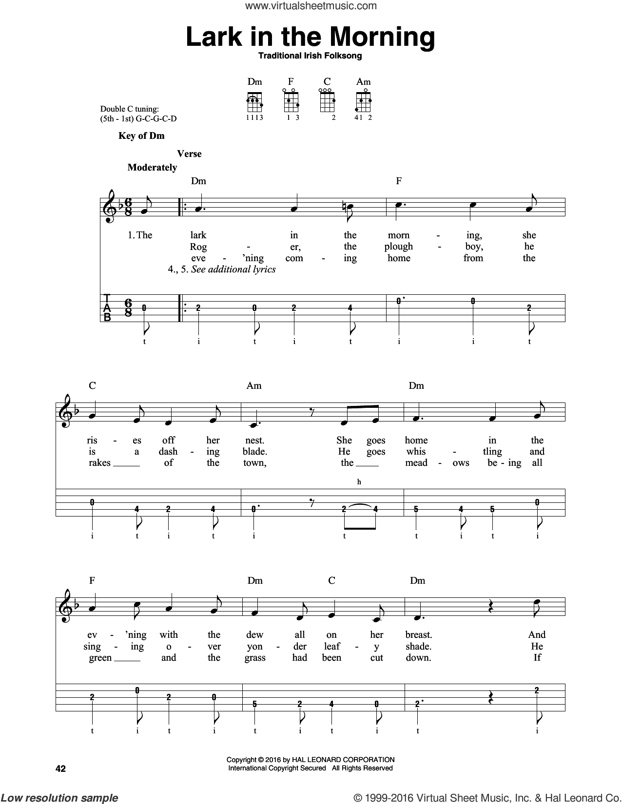 Lark In The Morning sheet music for banjo solo. Score Image Preview.