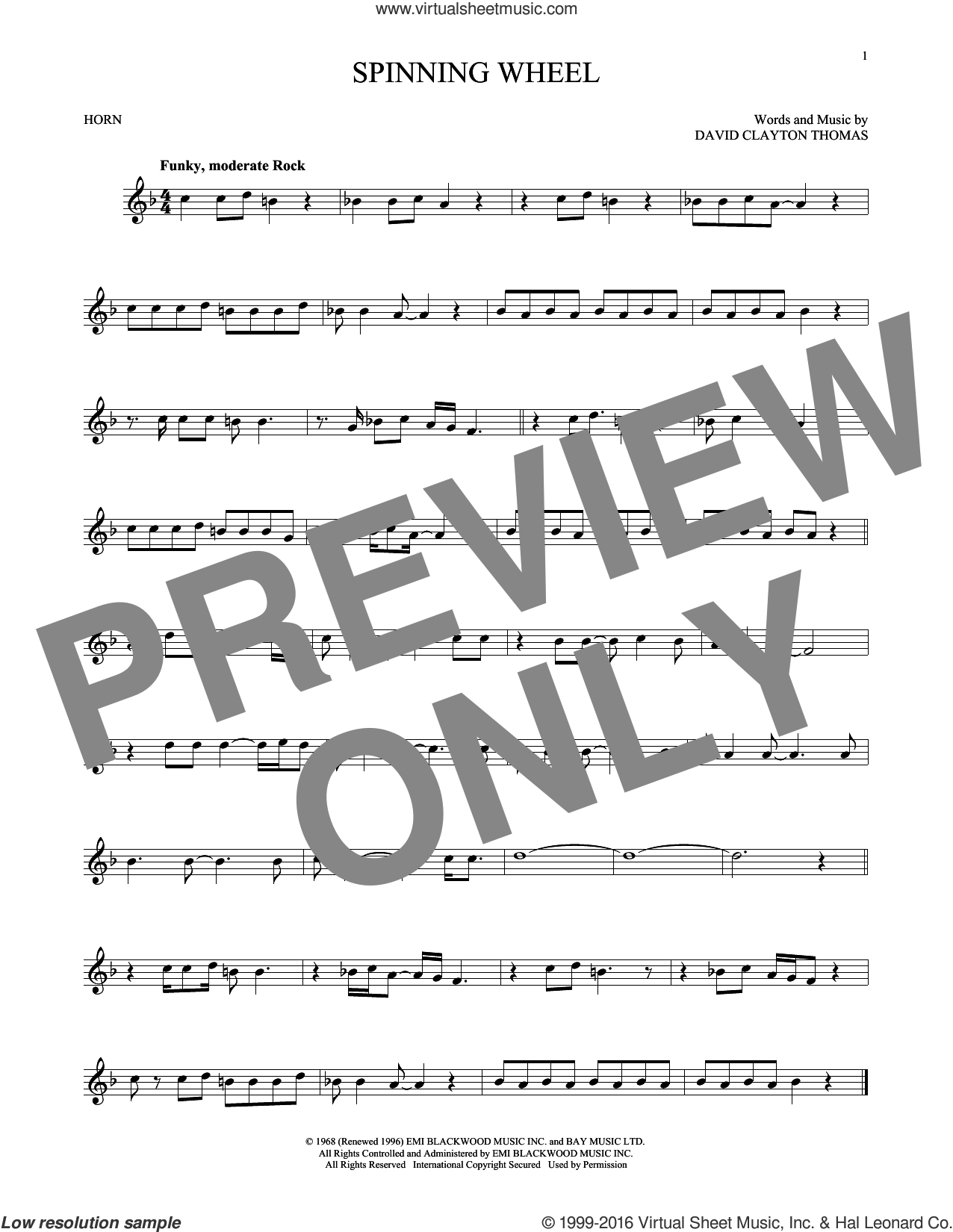 Spinning Wheel sheet music for horn solo by Blood, Sweat & Tears, intermediate horn. Score Image Preview.