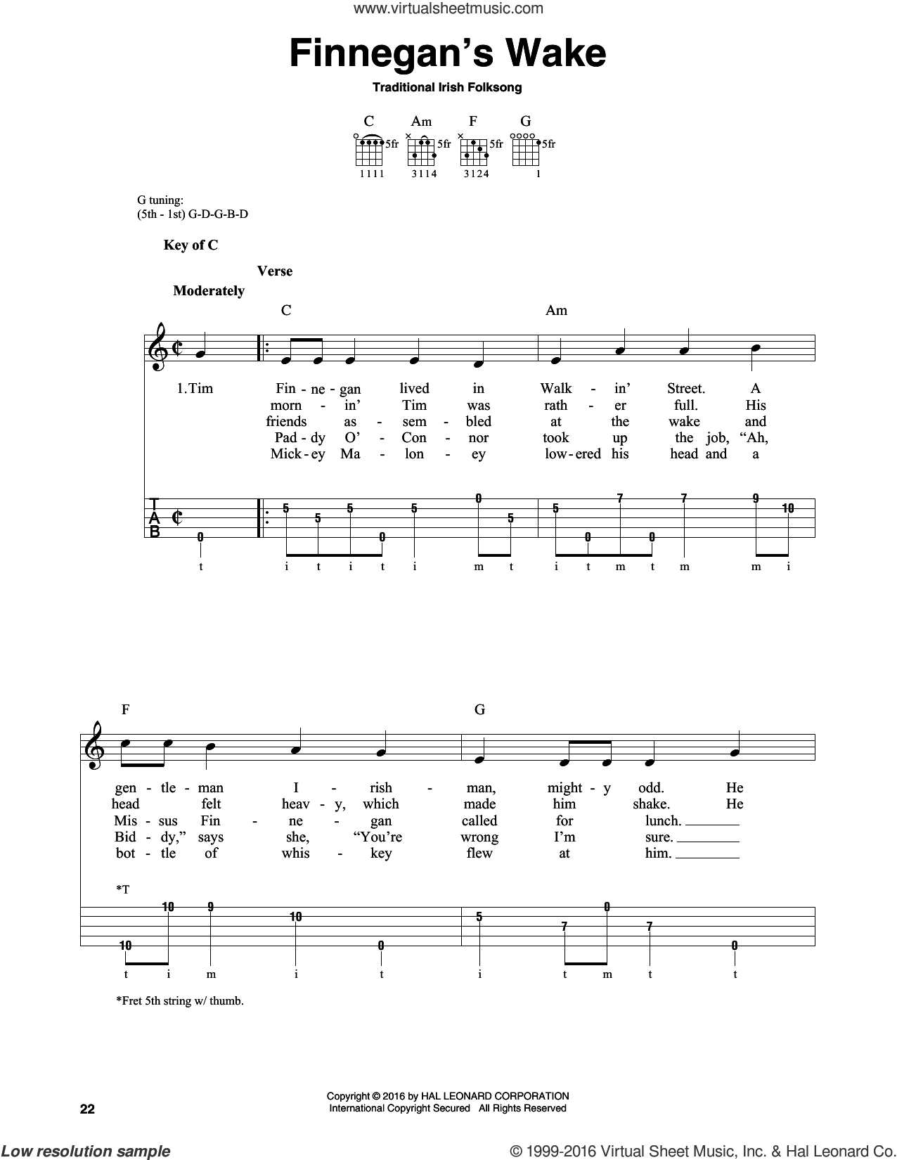 Finnegan's Wake sheet music for banjo solo, intermediate skill level
