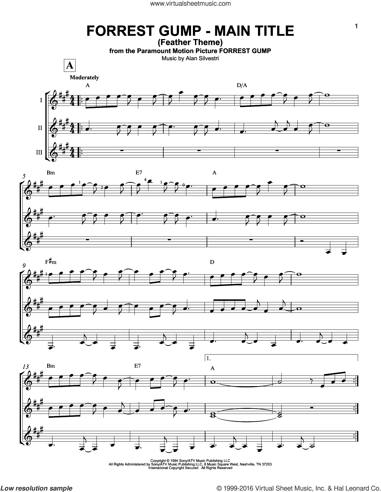Forrest Gump - Main Title (Feather Theme) sheet music for guitar ensemble by Alan Silvestri. Score Image Preview.