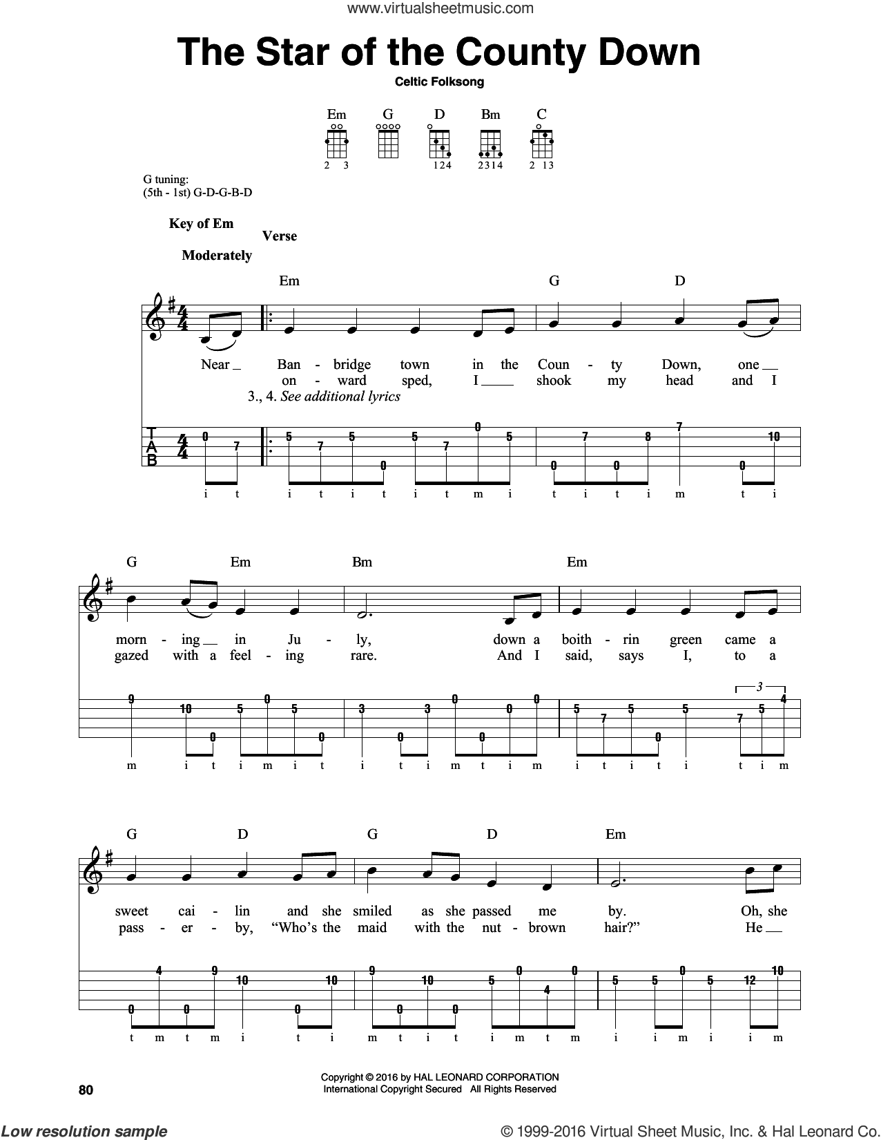 The Star Of The County Down sheet music for banjo solo by Celtic Folksong, intermediate skill level