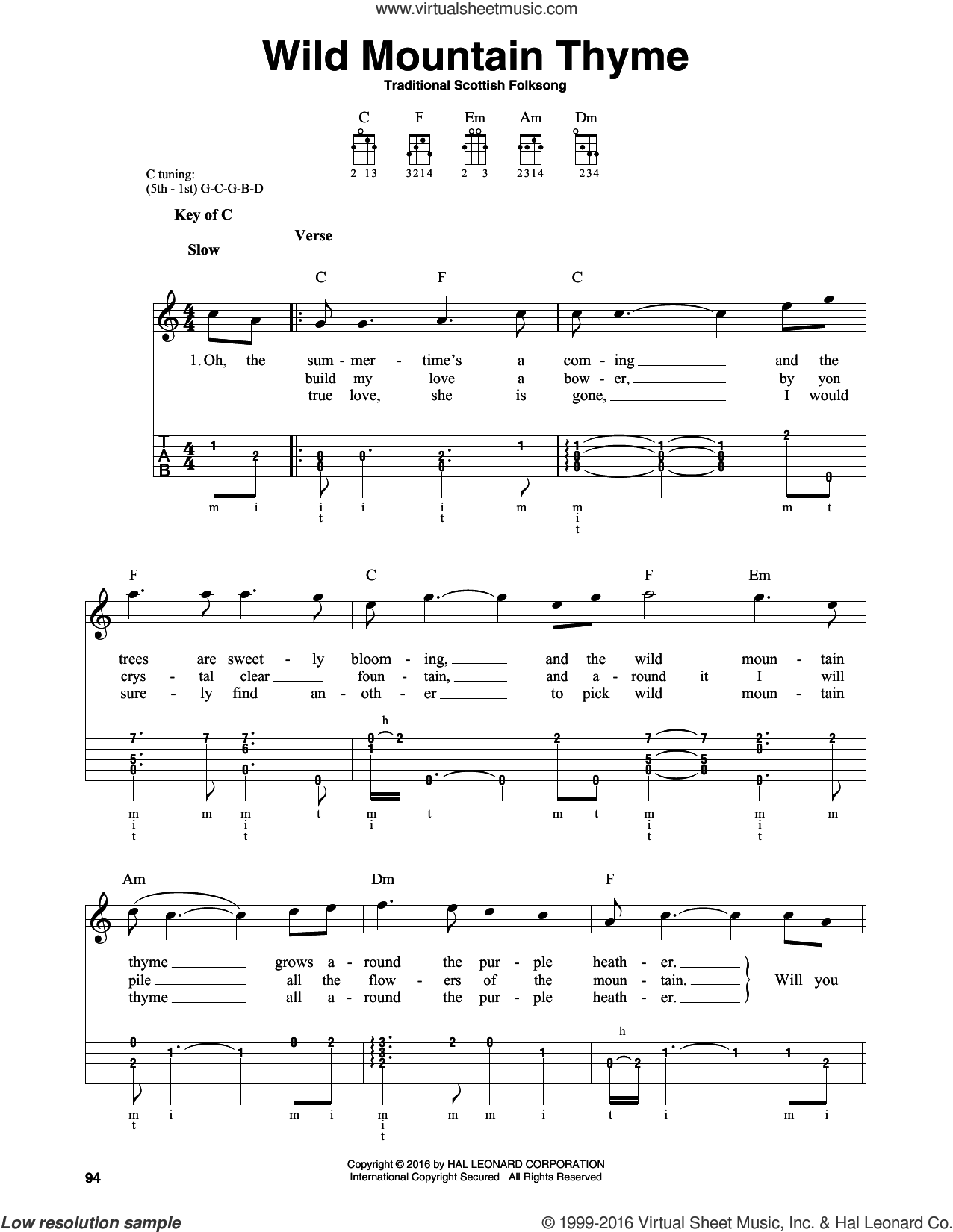 Wild Mountain Thyme sheet music for banjo solo by Traditional Scottish Folksong. Score Image Preview.