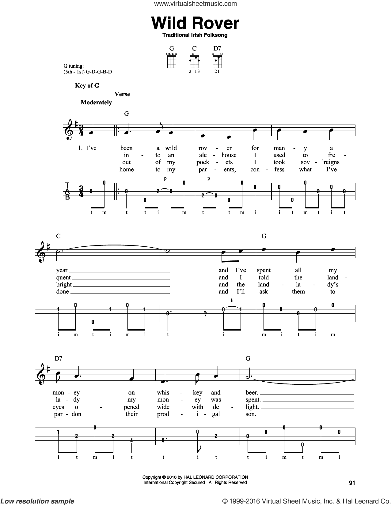 Wild Rover sheet music for banjo solo, intermediate skill level