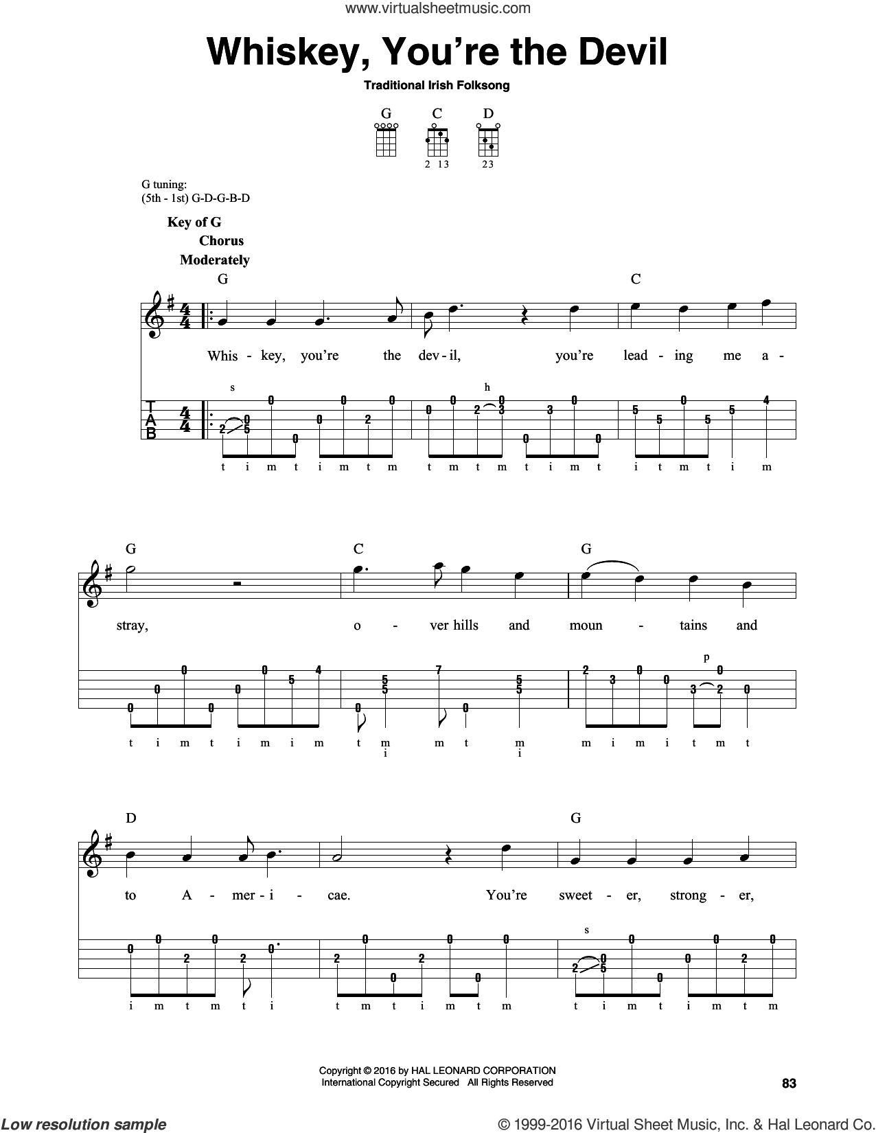 Whiskey, You're The Devil sheet music for banjo solo. Score Image Preview.