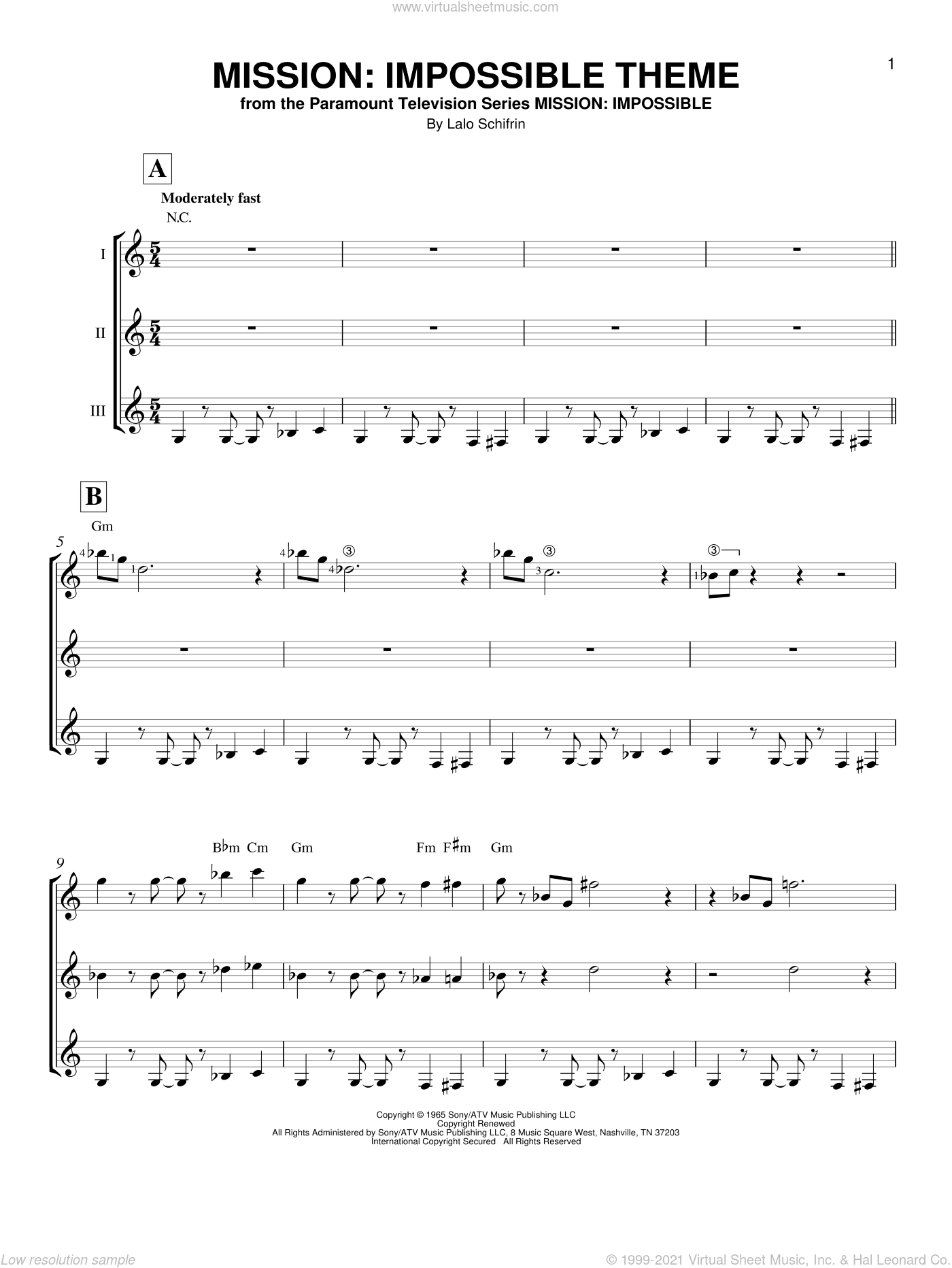 Mission: Impossible Theme sheet music for guitar ensemble by Lalo Schifrin and Adam Clayton and Larry Mullen, intermediate skill level