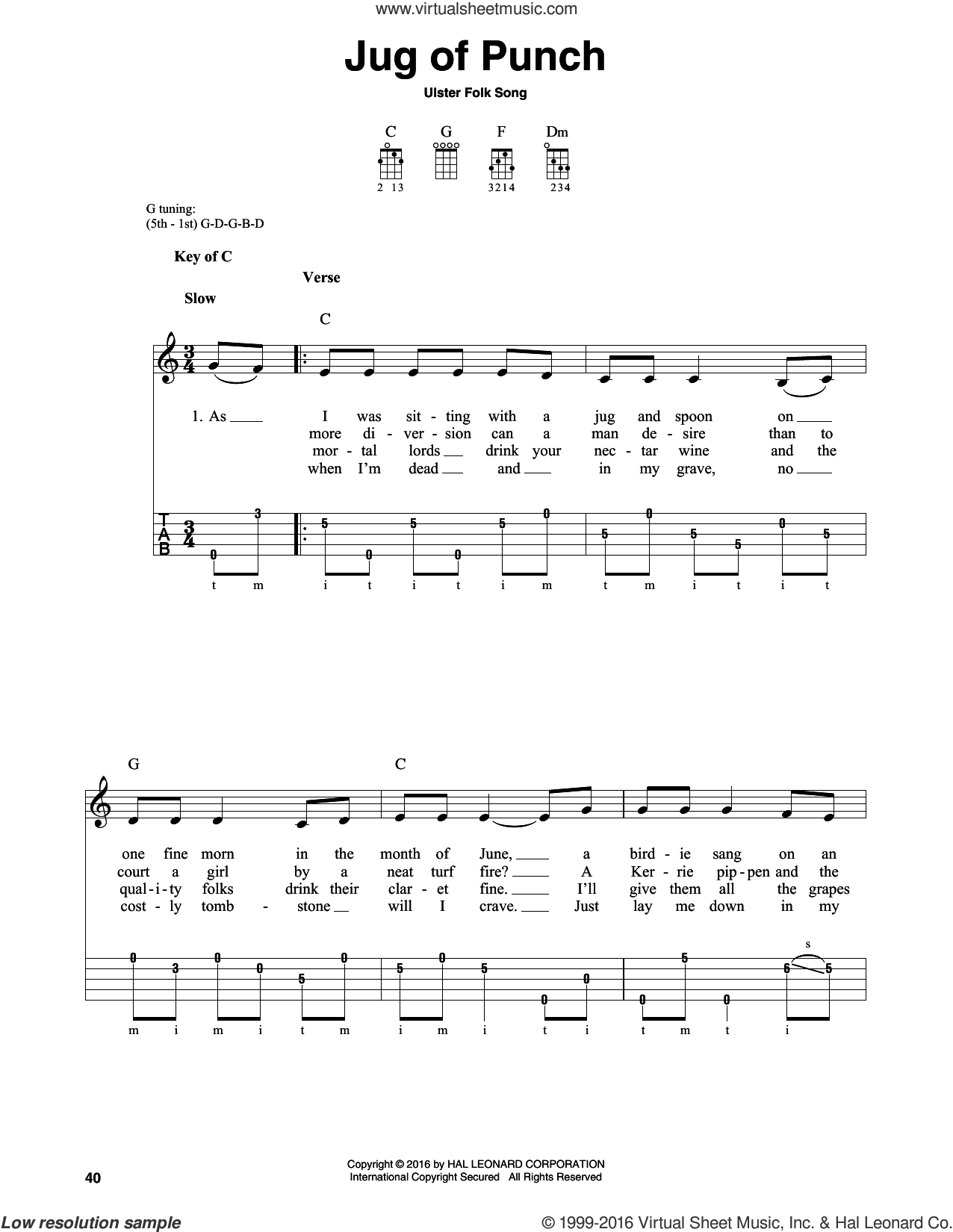Jug Of Punch sheet music for banjo solo. Score Image Preview.