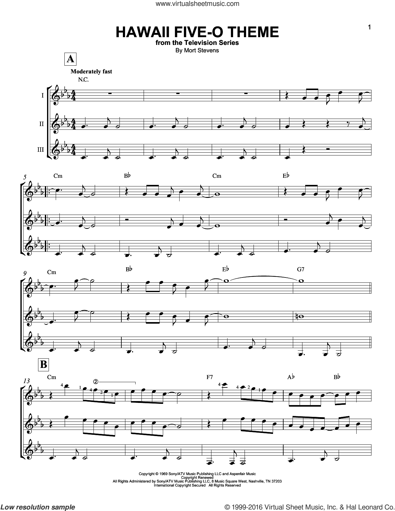 Hawaii Five-O Theme sheet music for guitar ensemble by The Ventures and Mort Stevens, intermediate skill level