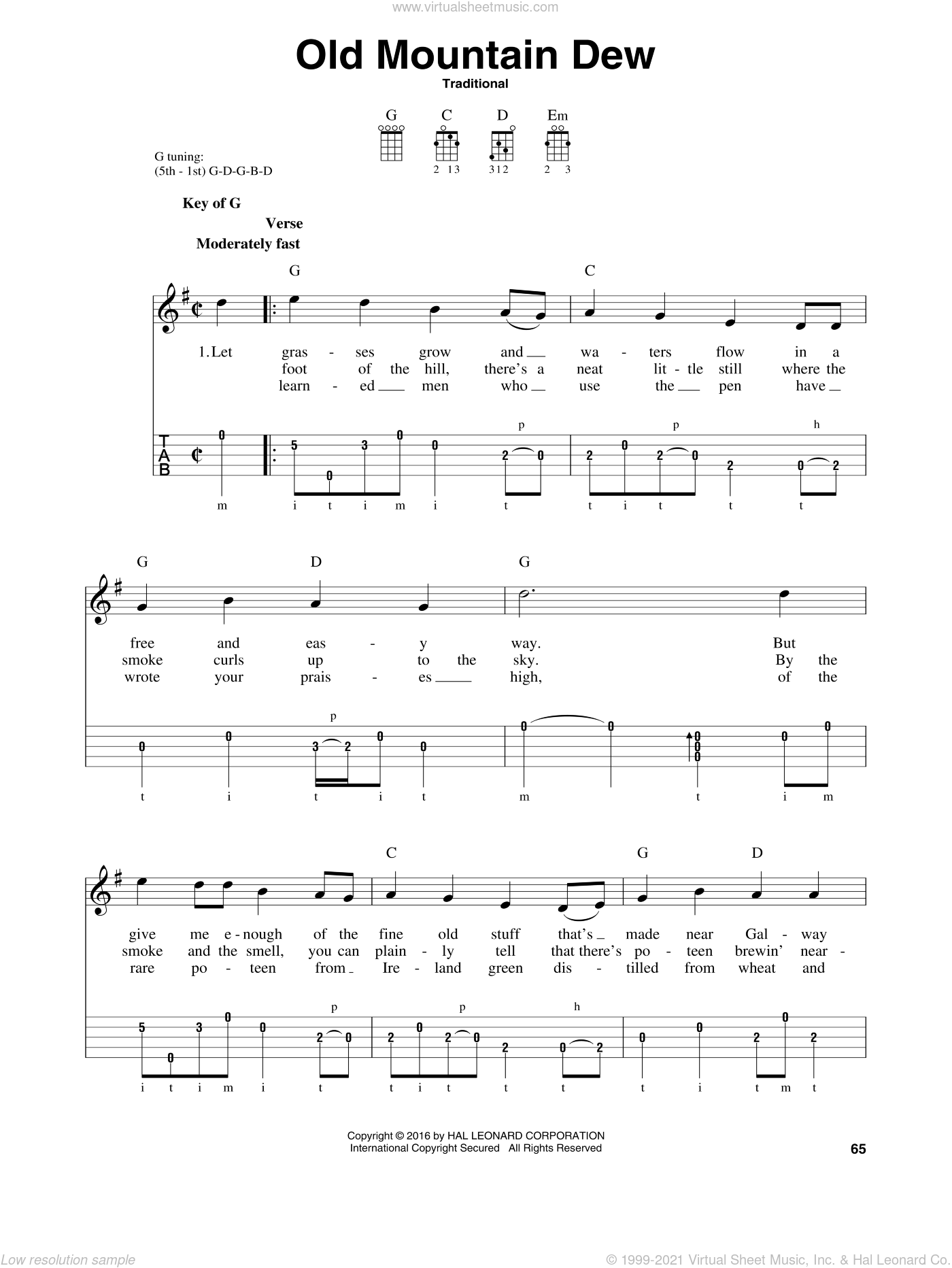 Old Mountain Dew sheet music for banjo solo, intermediate skill level