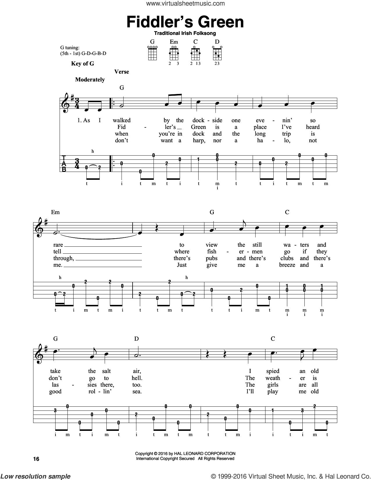 Fiddler's Green sheet music for banjo solo, intermediate skill level
