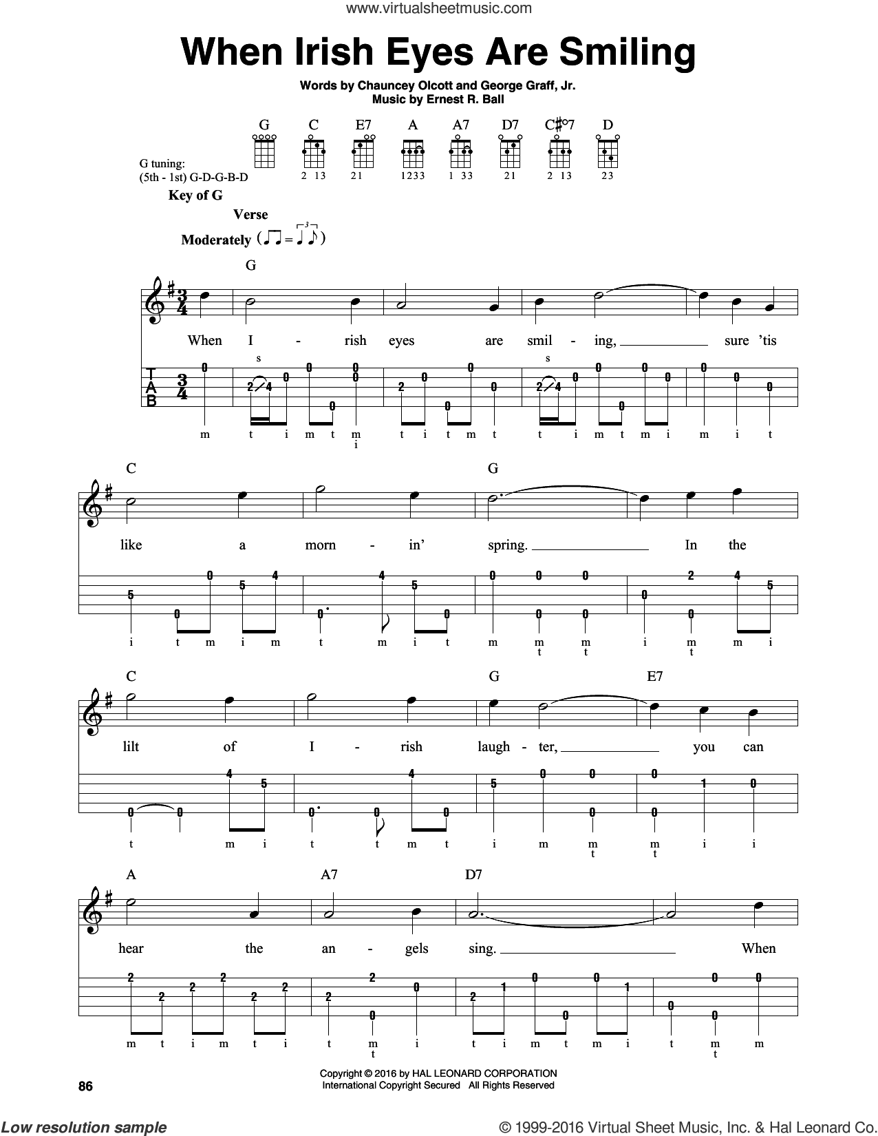When Irish Eyes Are Smiling sheet music for banjo solo by George Graff Jr.