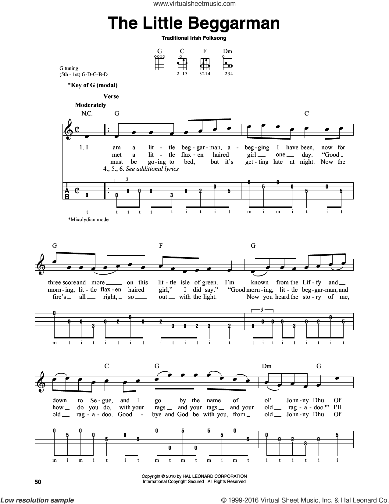 The Little Beggarman sheet music for banjo solo, intermediate. Score Image Preview.