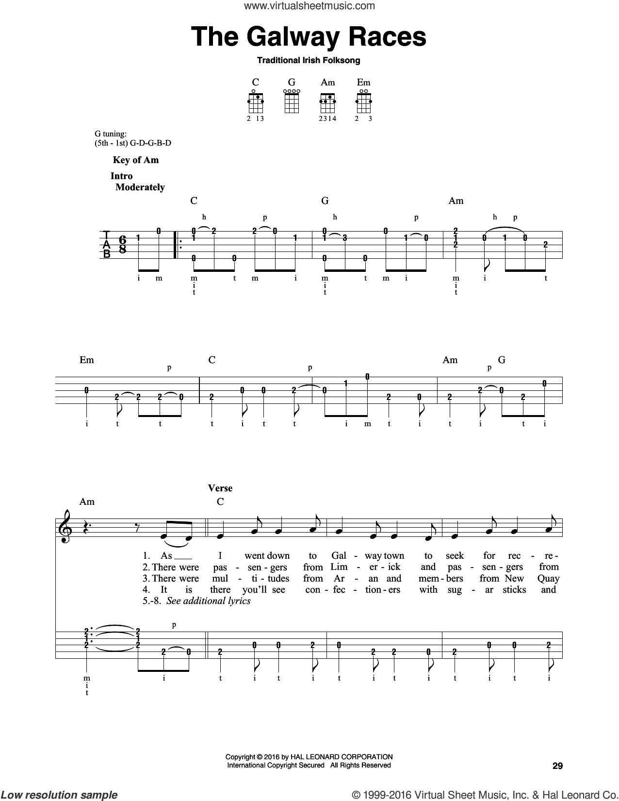 The Galway Races sheet music for banjo solo, intermediate skill level