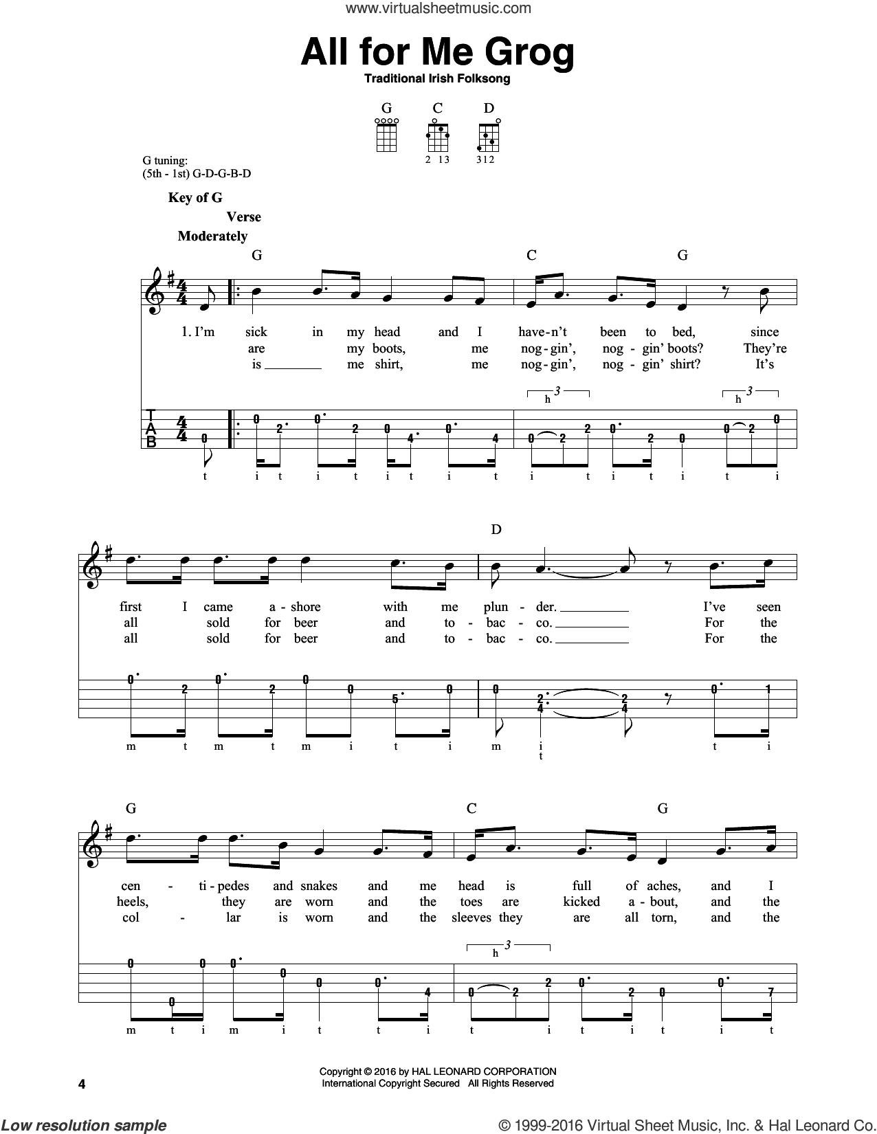 All For Me Grog sheet music for banjo solo by Traditional Irish Folksong, intermediate skill level