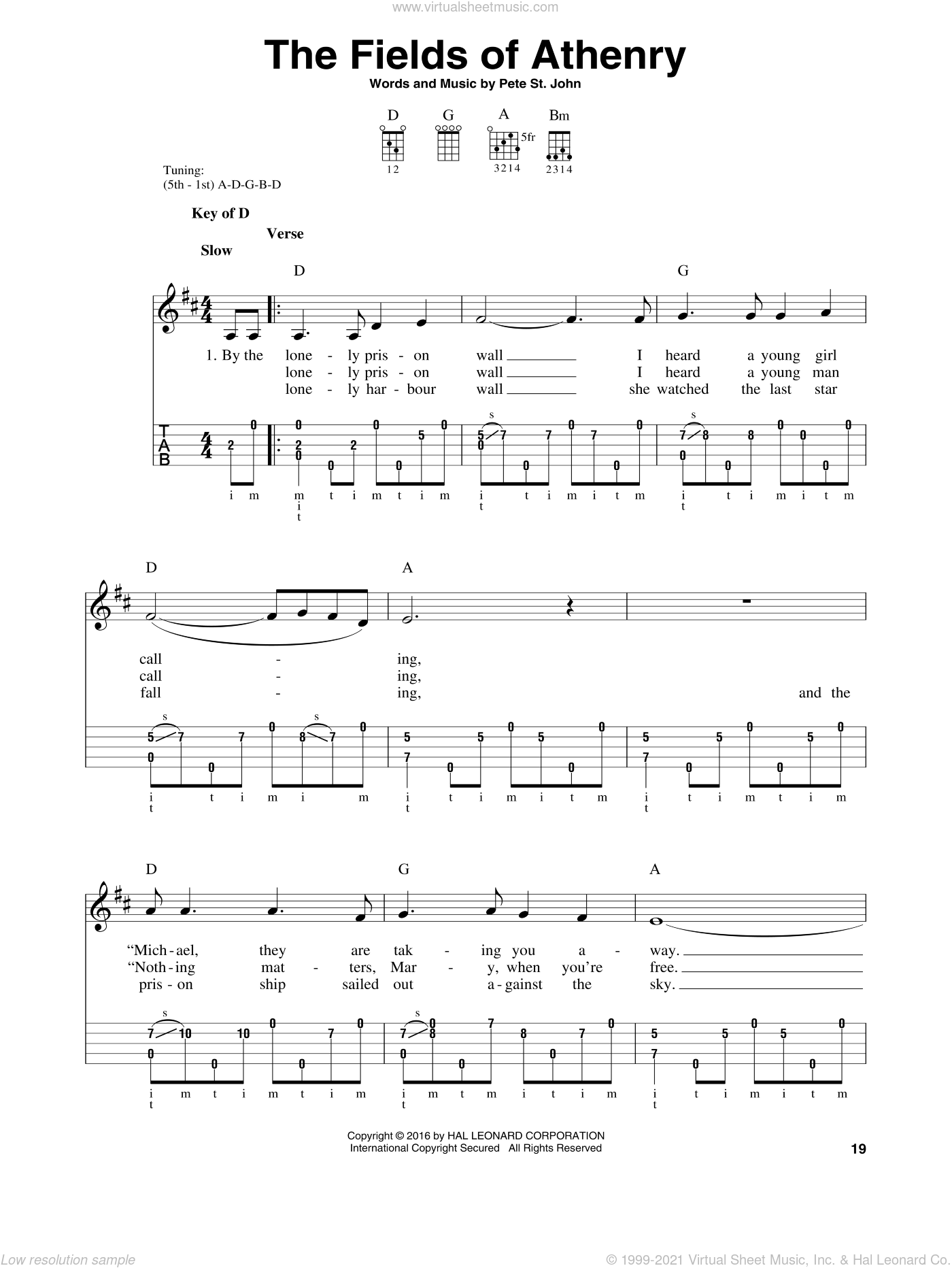 The Fields Of Athenry sheet music for banjo solo by Pete St. John, intermediate