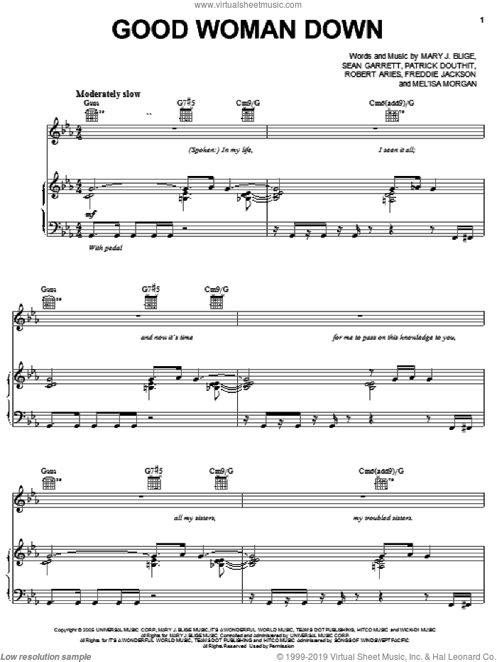 Good Woman Down sheet music for voice, piano or guitar by Mary J. Blige, Freddie Jackson, Patrick Douthit, Robert Aries and Sean Garrett, intermediate skill level