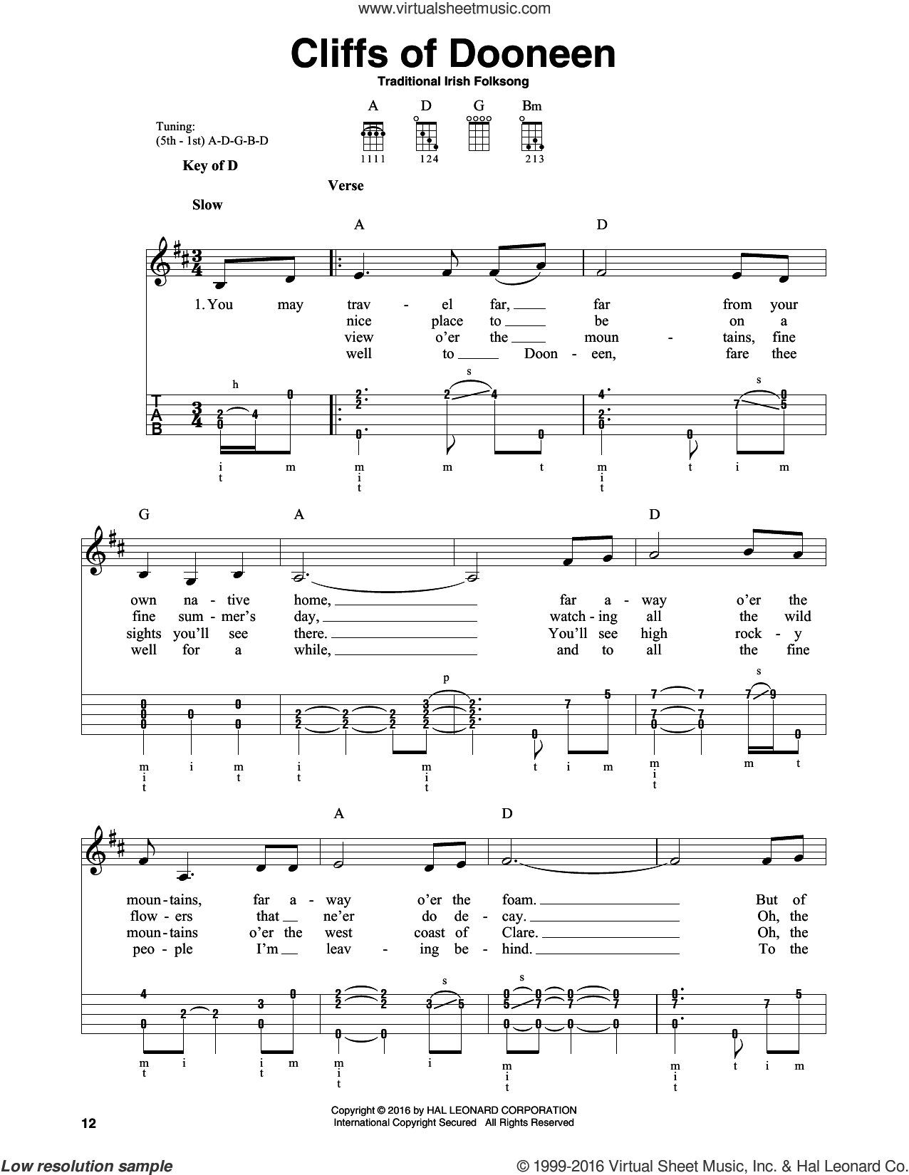 Cliffs Of Doneen sheet music for banjo solo, intermediate skill level