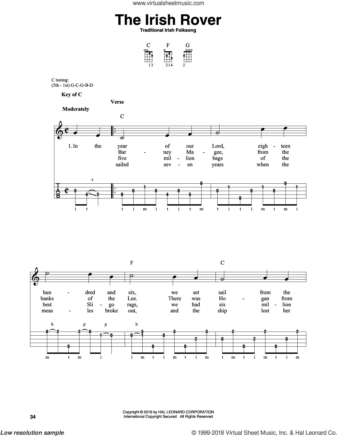 The Irish Rover sheet music for banjo solo, intermediate skill level