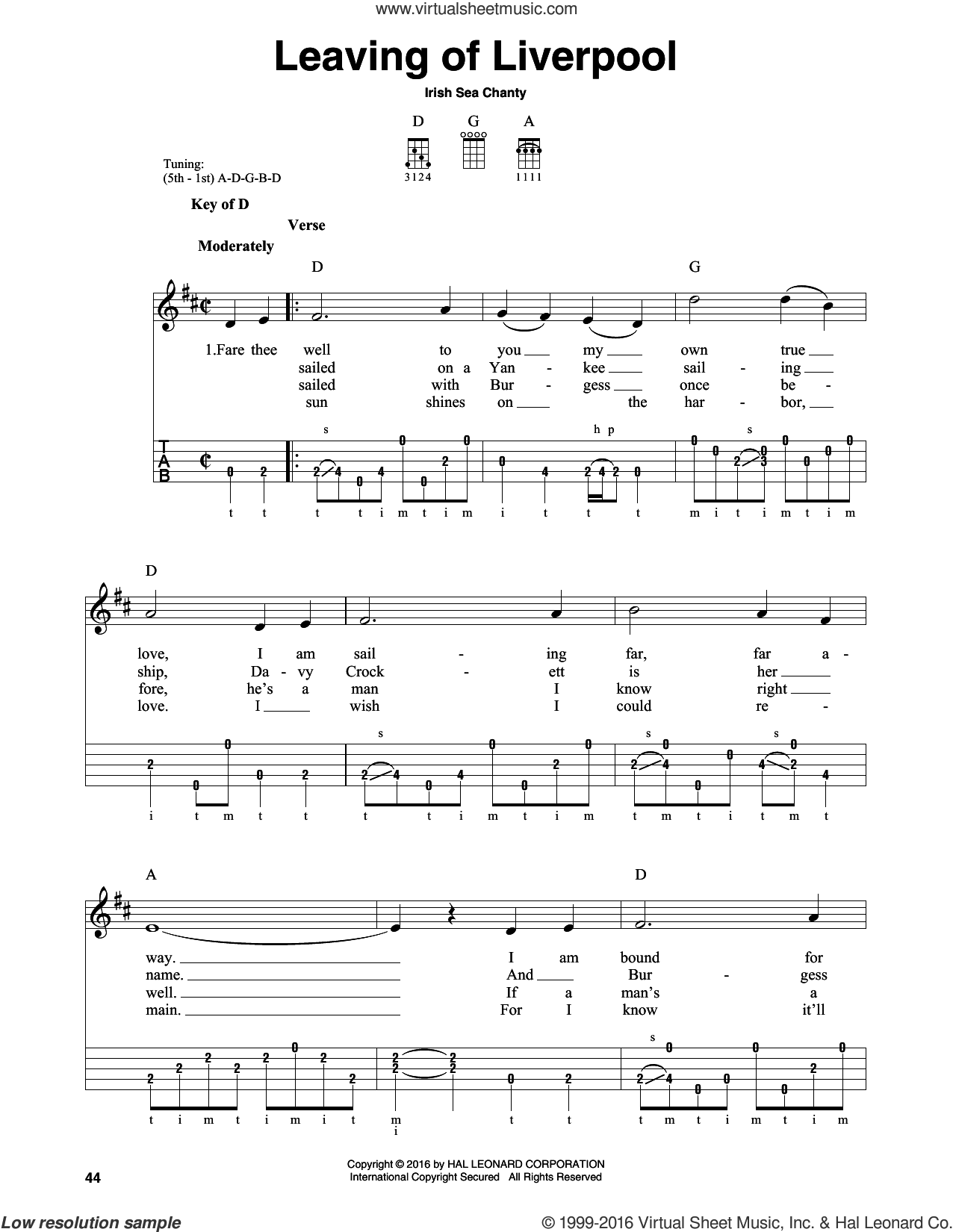 Leaving Of Liverpool sheet music for banjo solo by Irish Sea Chanty, intermediate skill level