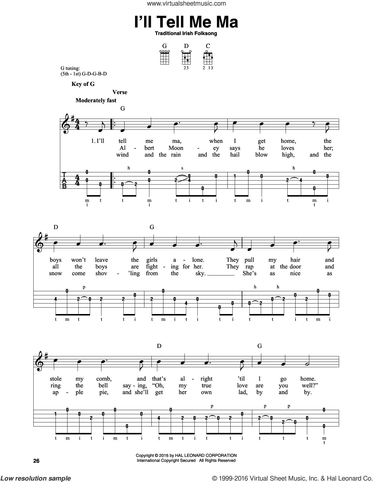 I'll Tell Me Ma sheet music for banjo solo, intermediate skill level