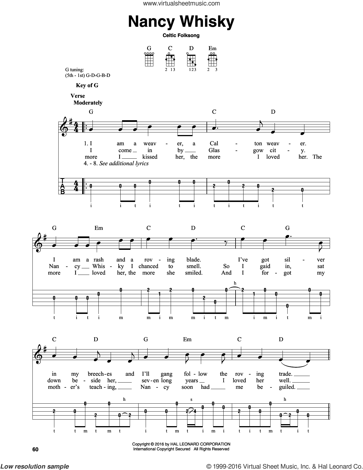 Nancy Whisky sheet music for banjo solo by Celtic Folksong, intermediate skill level