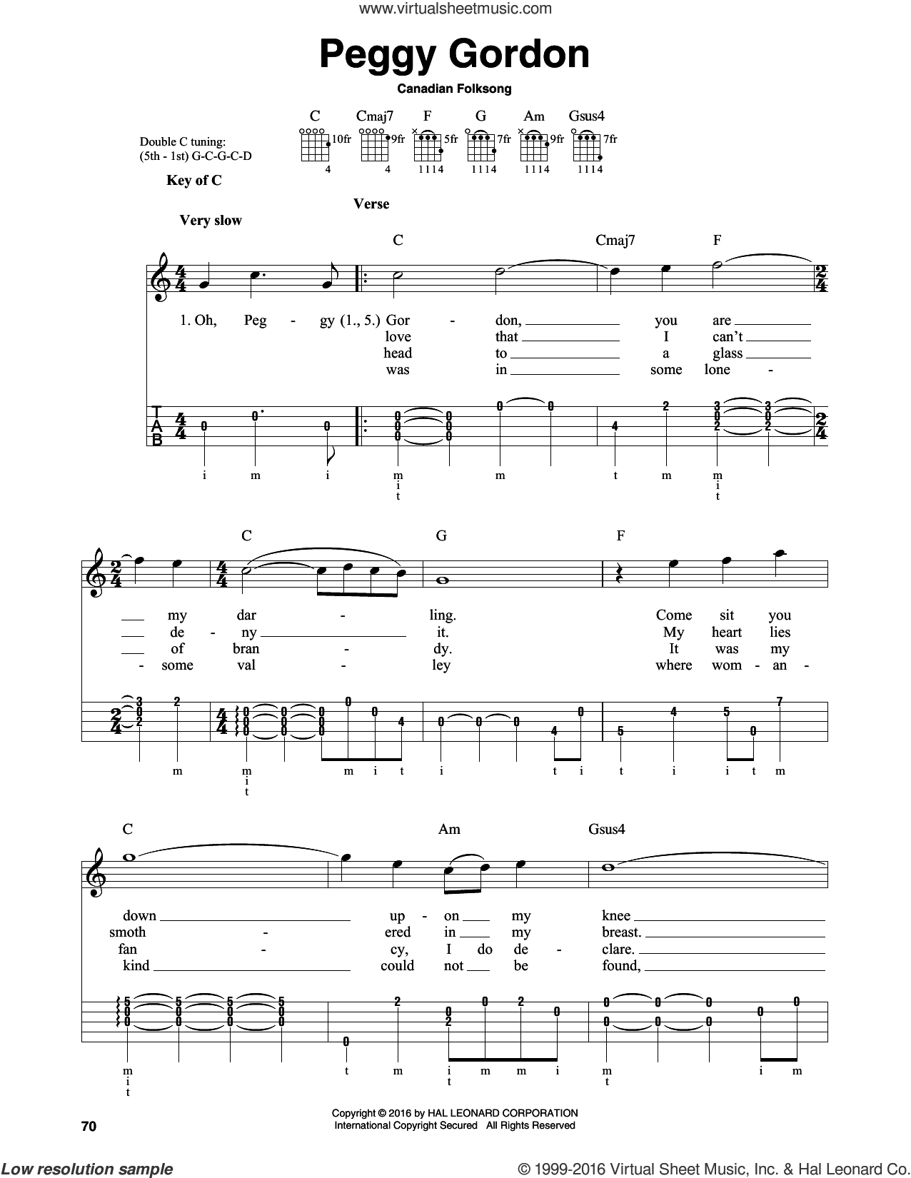 Peggy Gordon sheet music for banjo solo by Canadian Folk Song. Score Image Preview.