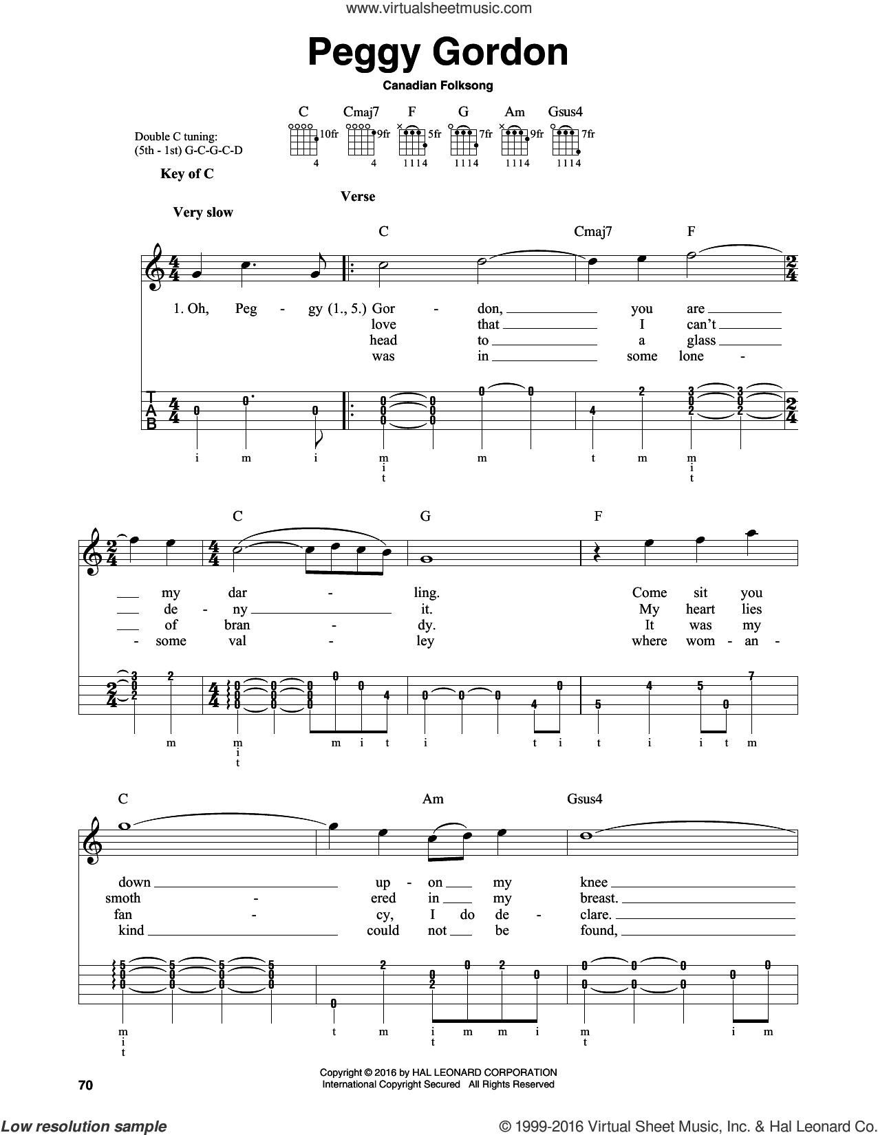 Peggy Gordon sheet music for banjo solo by Canadian Folk Song, intermediate skill level