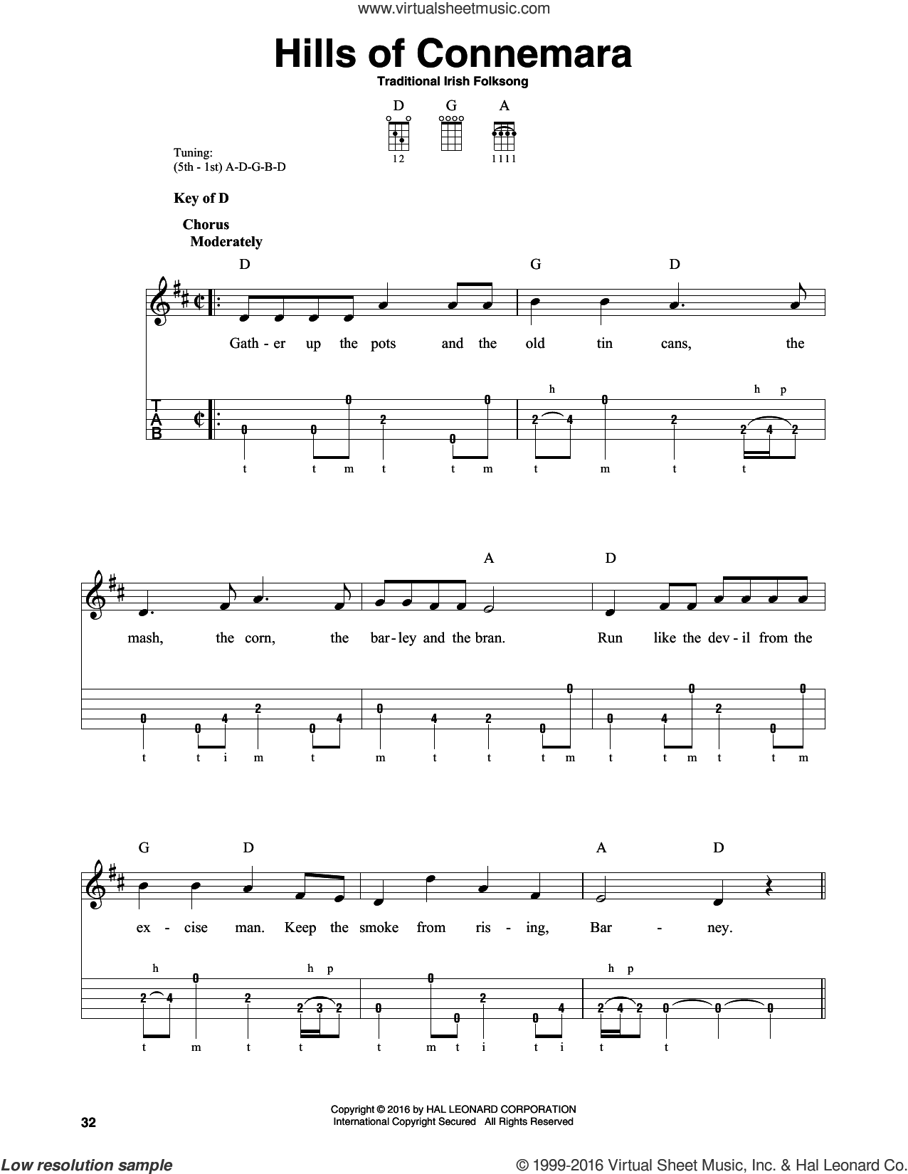 Hills Of Connemara sheet music for banjo solo, intermediate skill level