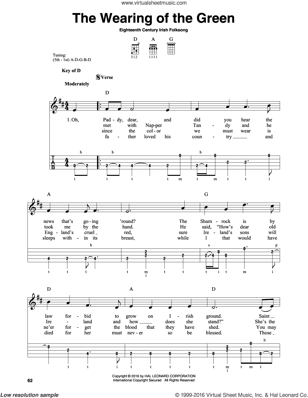 The Wearing Of The Green sheet music for banjo solo, intermediate skill level