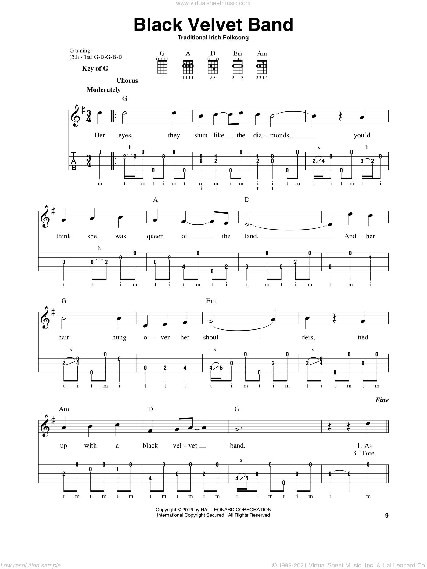 Black Velvet Band Sheet Music For Banjo Solo Pdf