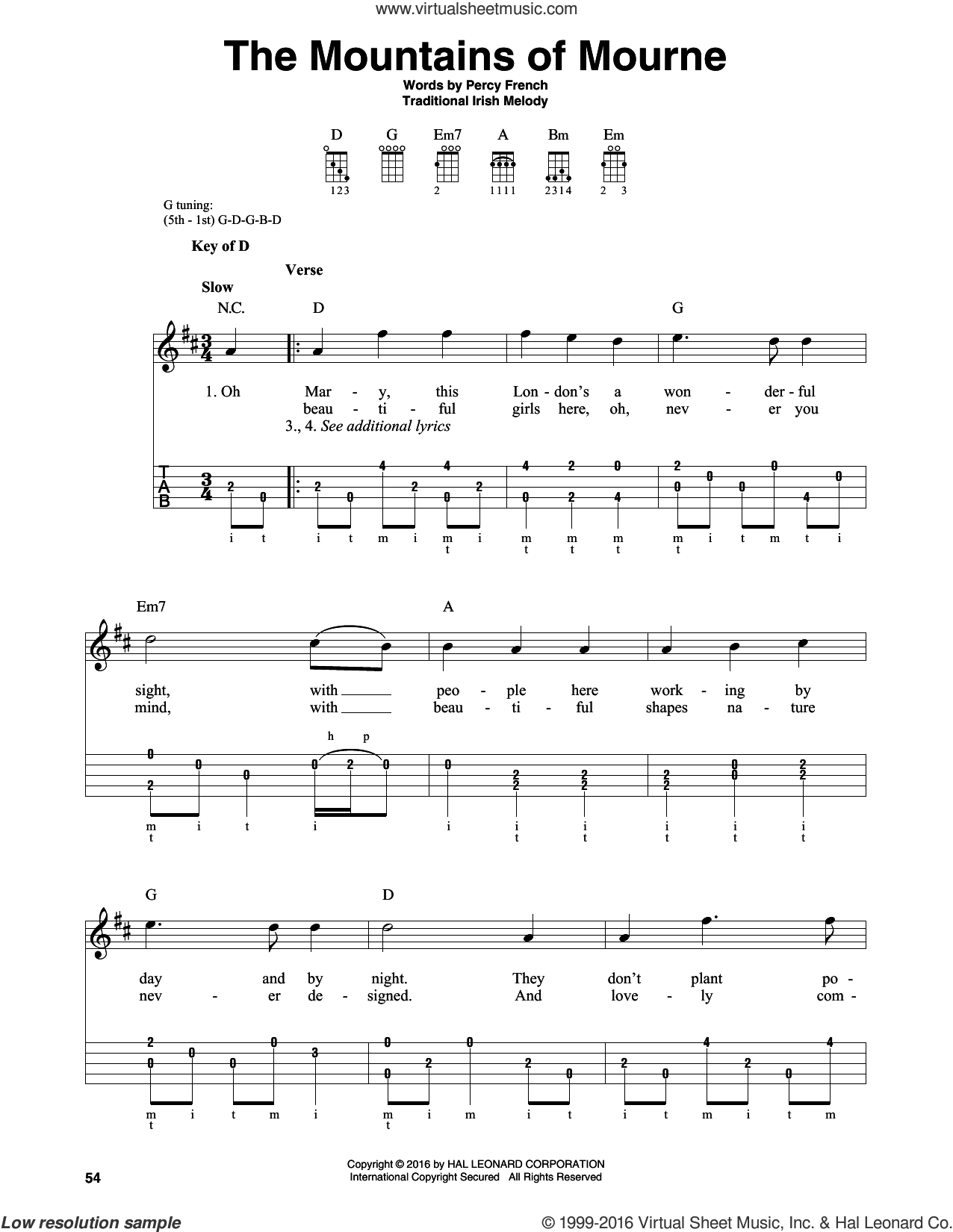 The Mountains Of Mourne sheet music for banjo solo by Percy French and Miscellaneous, intermediate skill level
